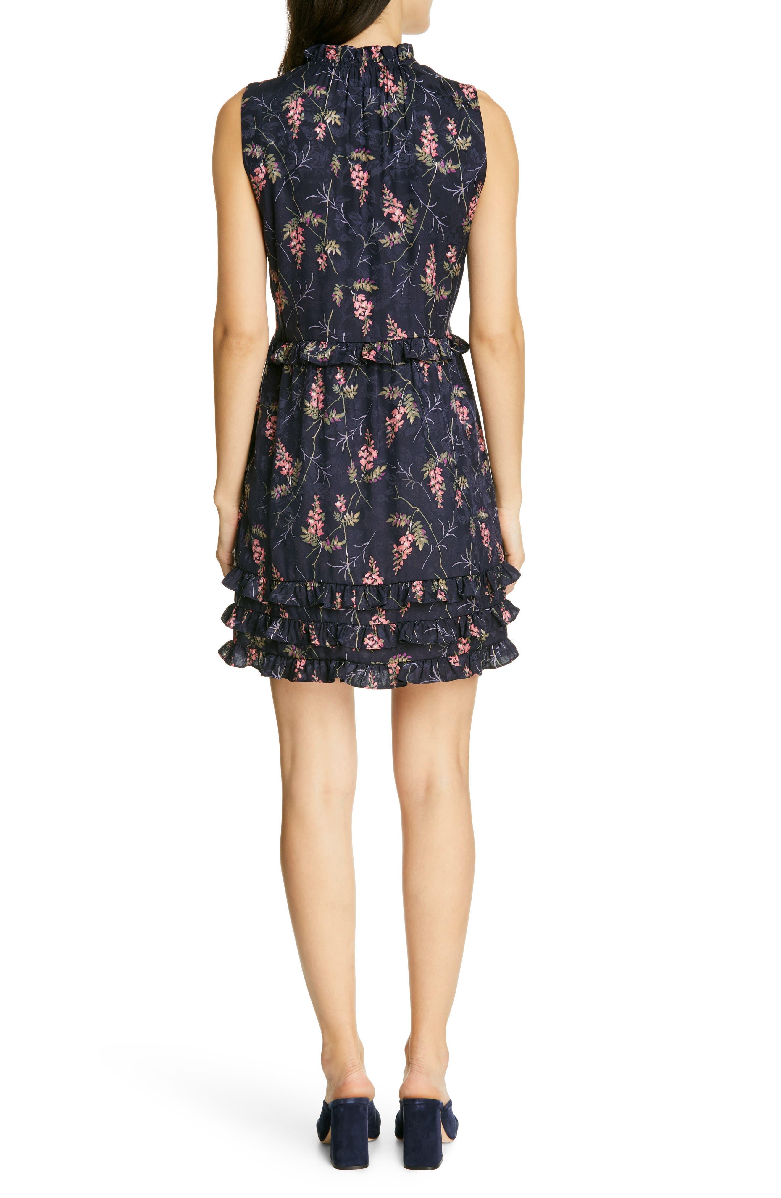 REBECCA TAYLOR, Ivie Floral Ruffle Silk Blend Dress, Alternate thumbnail 2, color, NAVY COMBO