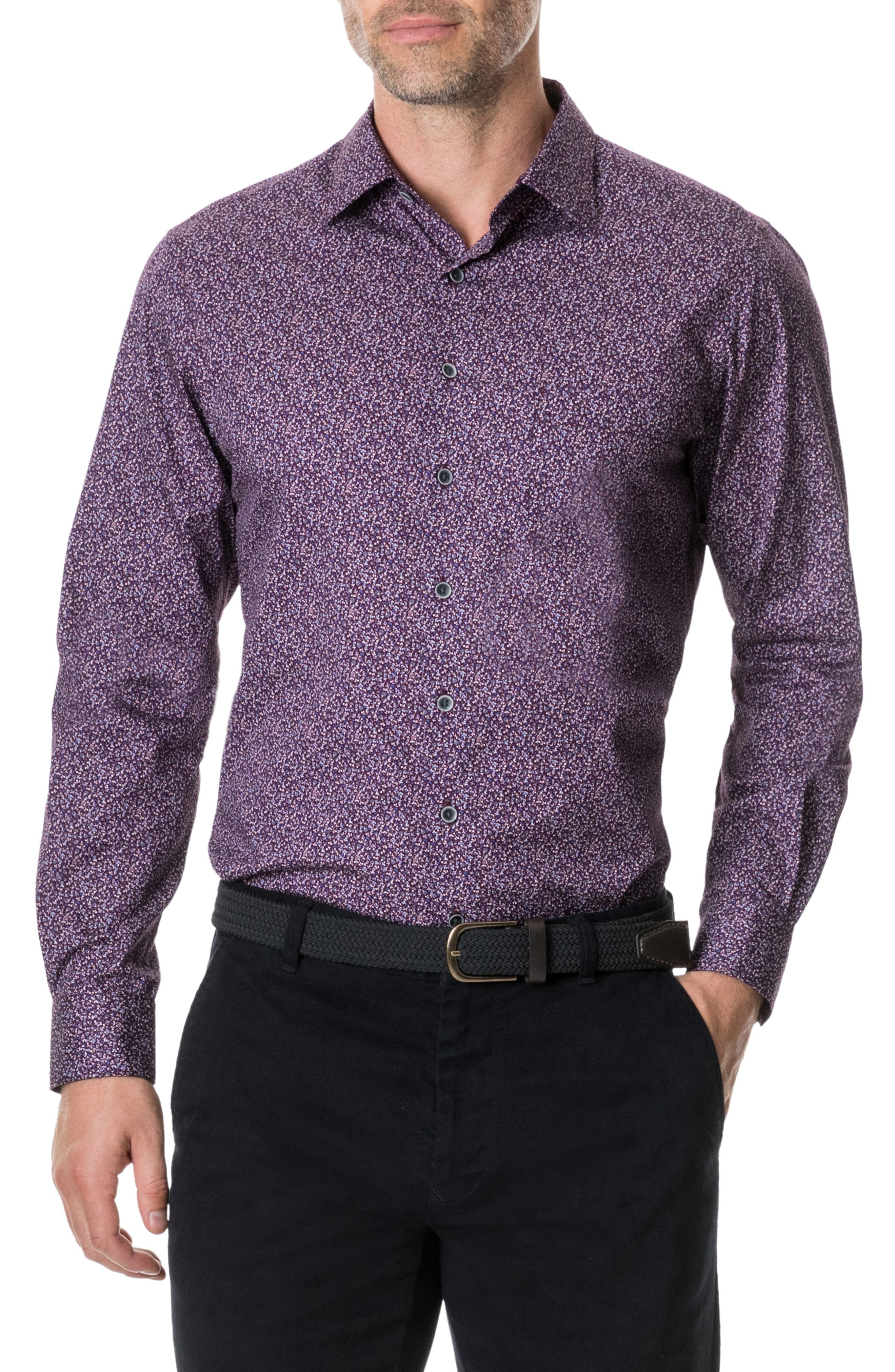 RODD & GUNN, Scotland Street Regular Fit Floral Sport Shirt, Main thumbnail 1, color, PLUM PURPLE