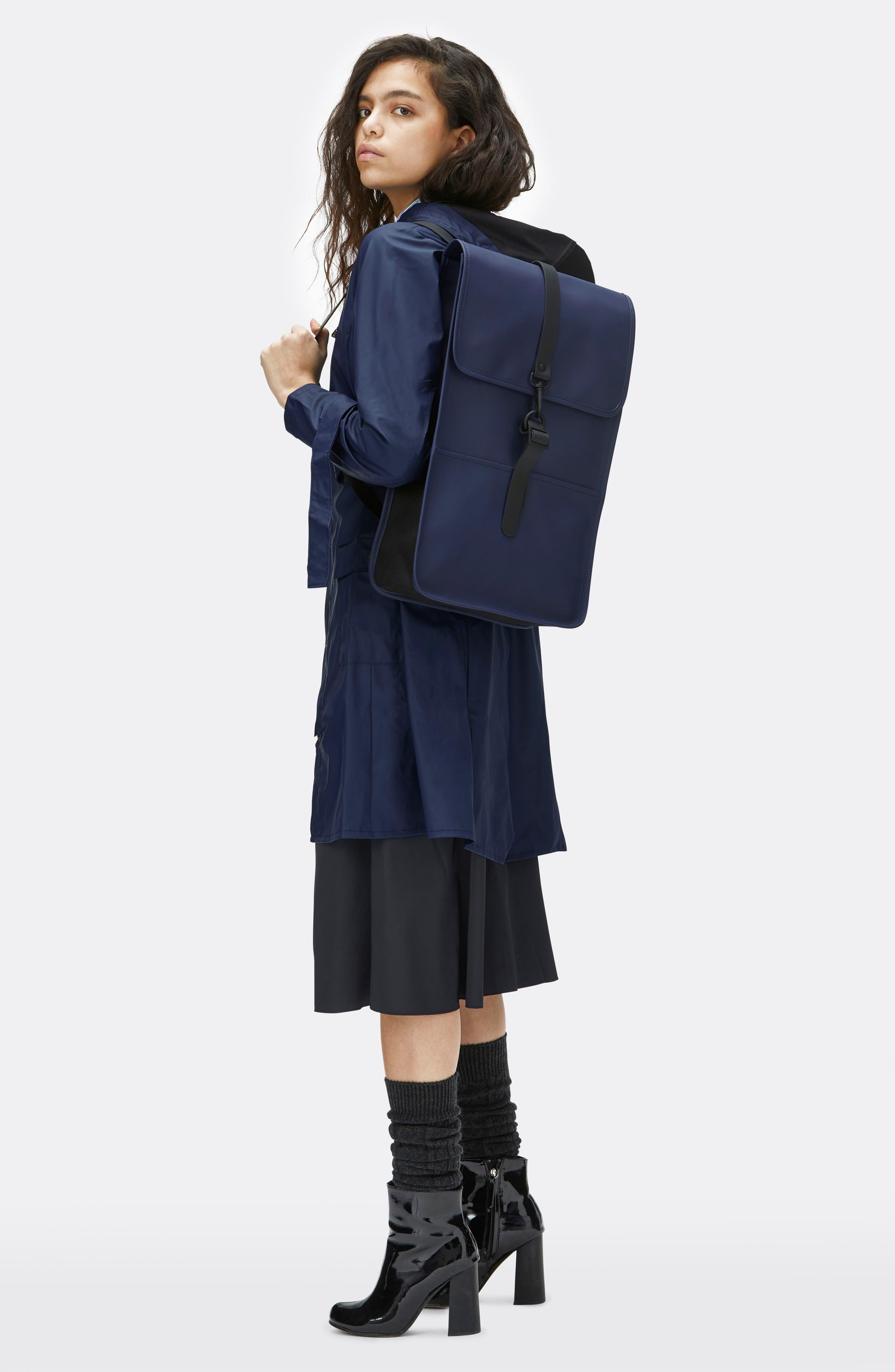 RAINS, Waterproof Backpack, Alternate thumbnail 9, color, BLUE