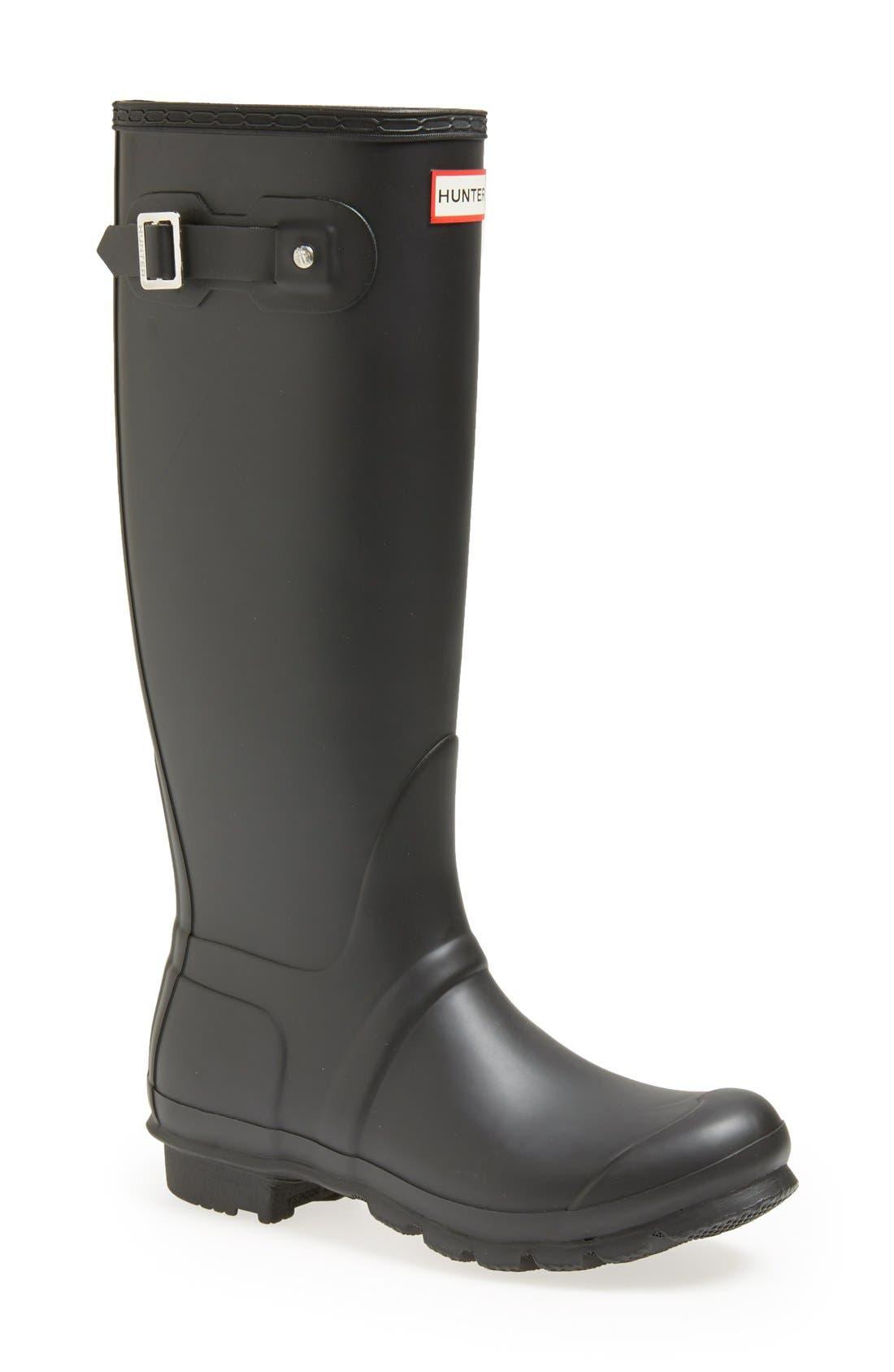 HUNTER, Original Tall Waterproof Rain Boot, Main thumbnail 1, color, BLACK MATTE