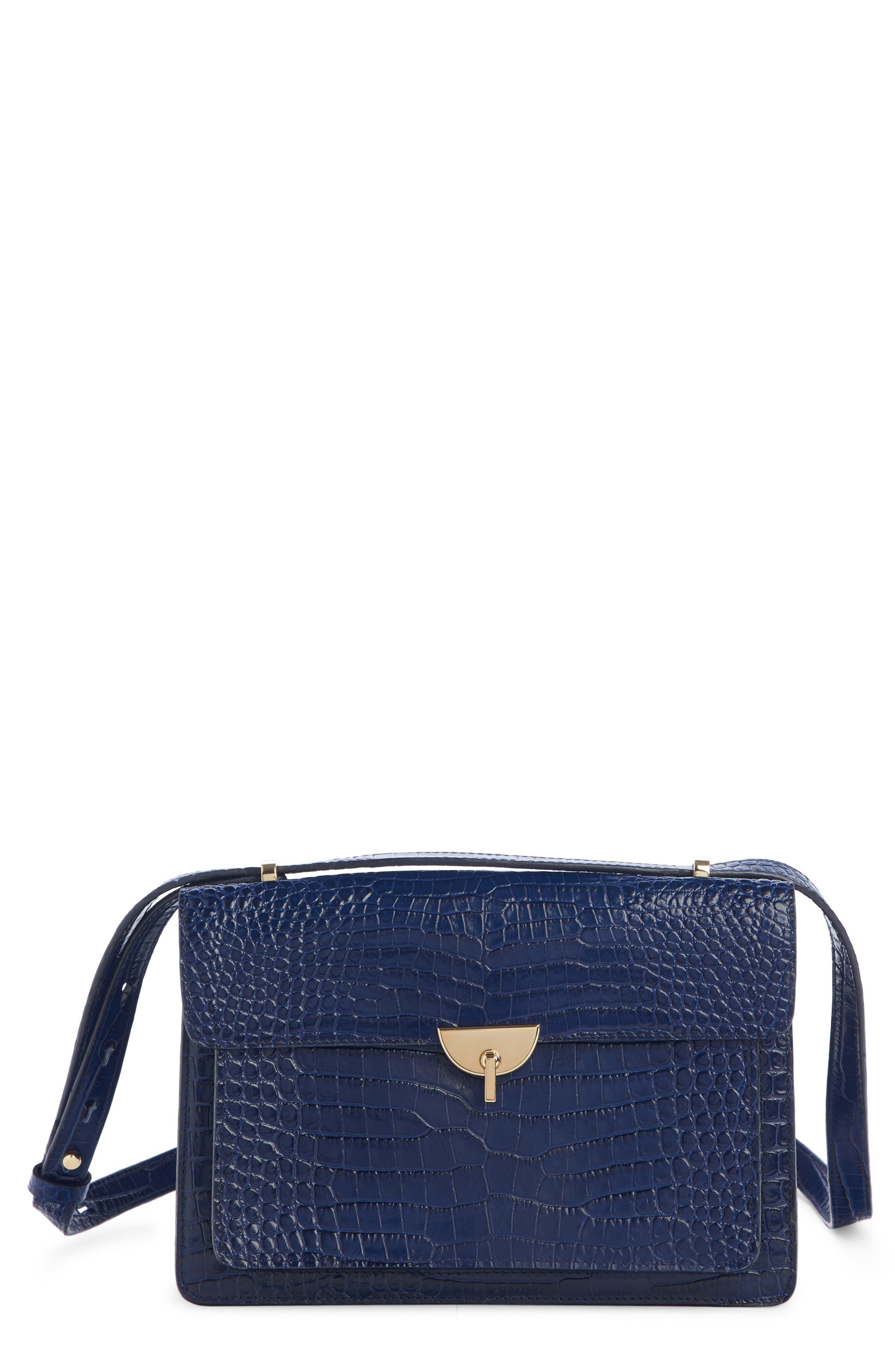DRIES VAN NOTEN, Croc Embossed Leather Crossbody Bag, Main thumbnail 1, color, BLUE