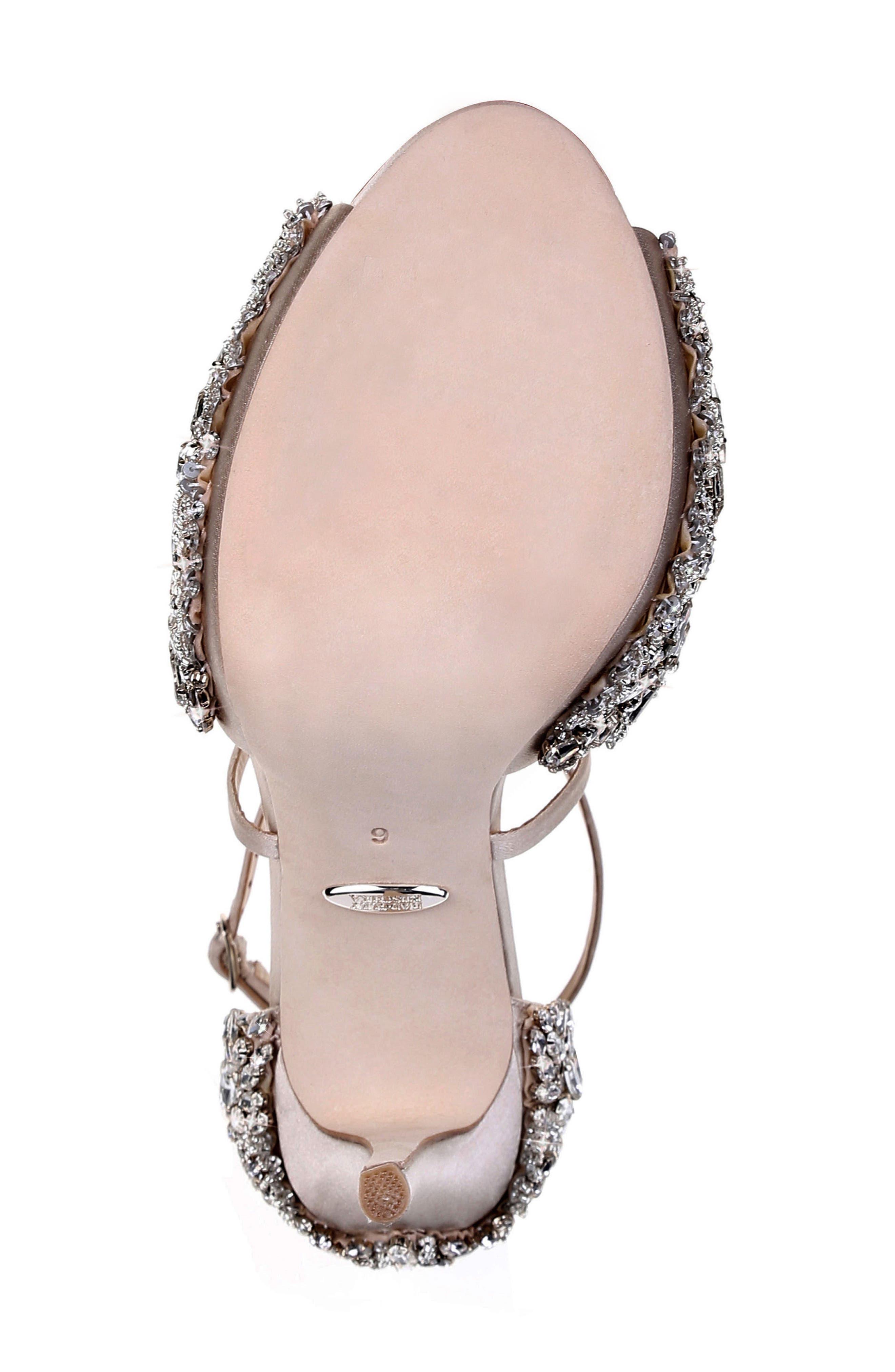 BADGLEY MISCHKA COLLECTION, Badgley Mischka Hyper Crystal Embellished Sandal, Alternate thumbnail 6, color, 100