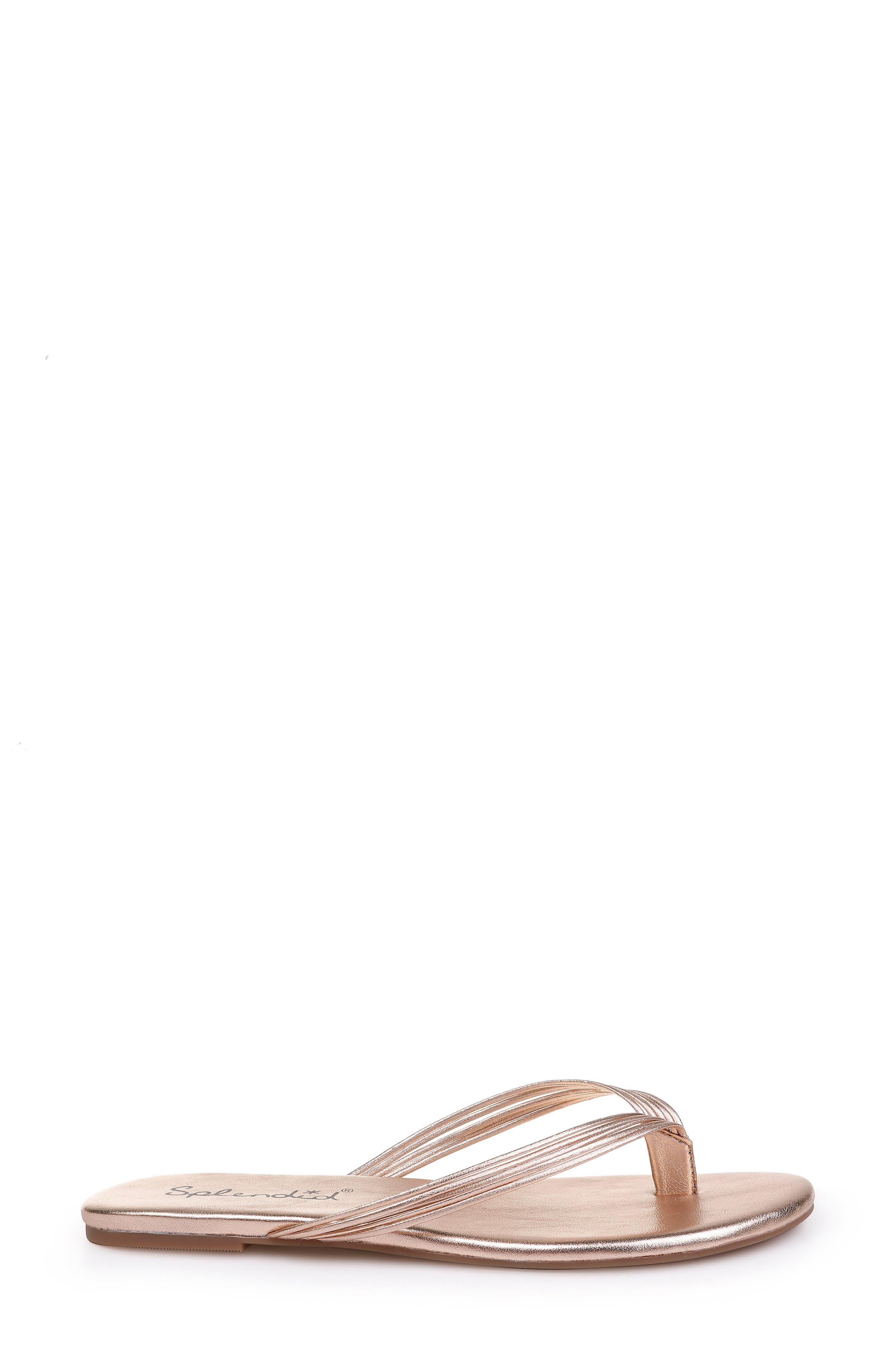 SPLENDID, Shyanna Strappy Flip Flop, Alternate thumbnail 3, color, ROSE GOLD LEATHER