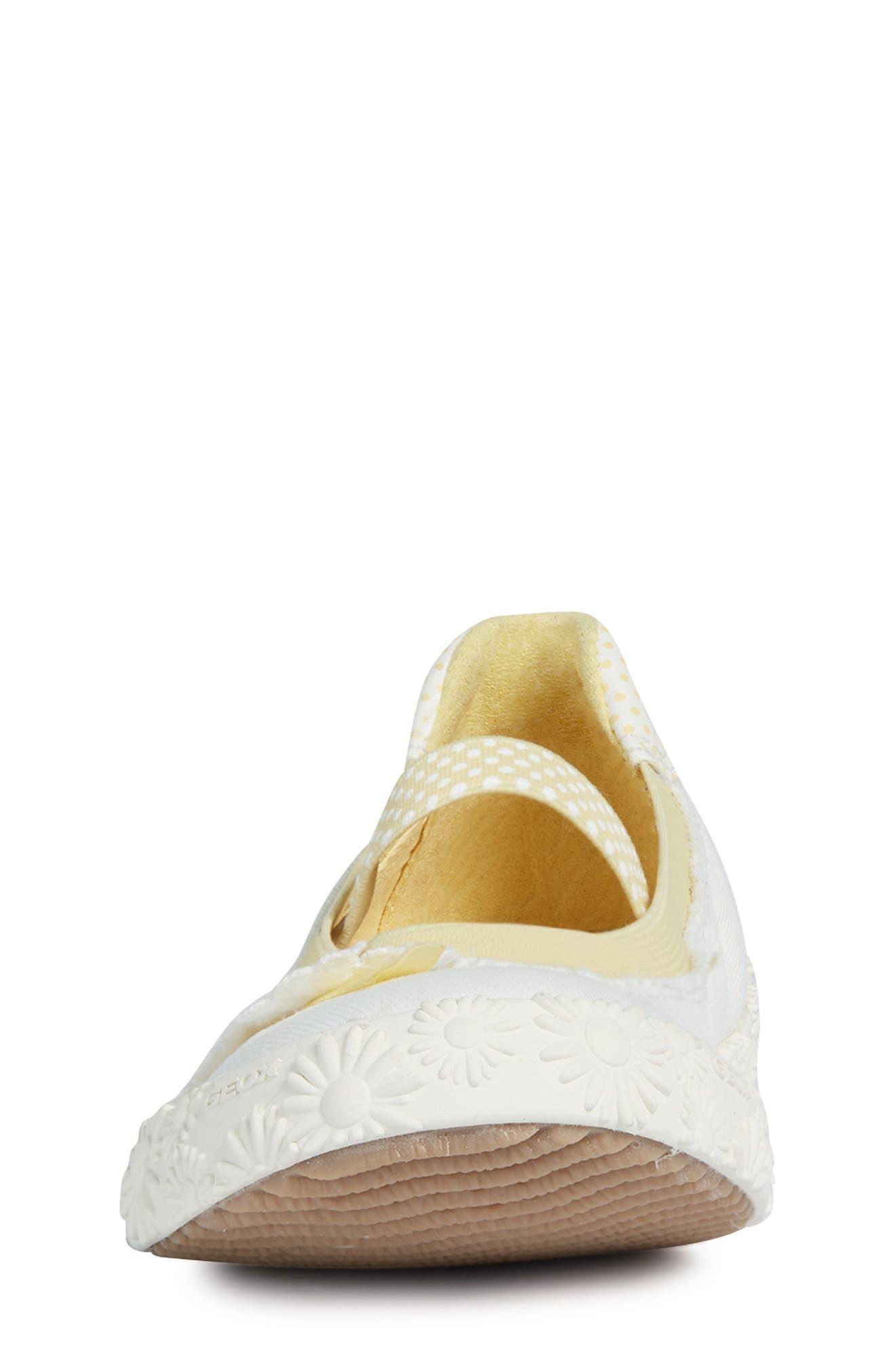 GEOX, Kilwi Daisy Mary Jane Sneaker, Alternate thumbnail 4, color, WHITE