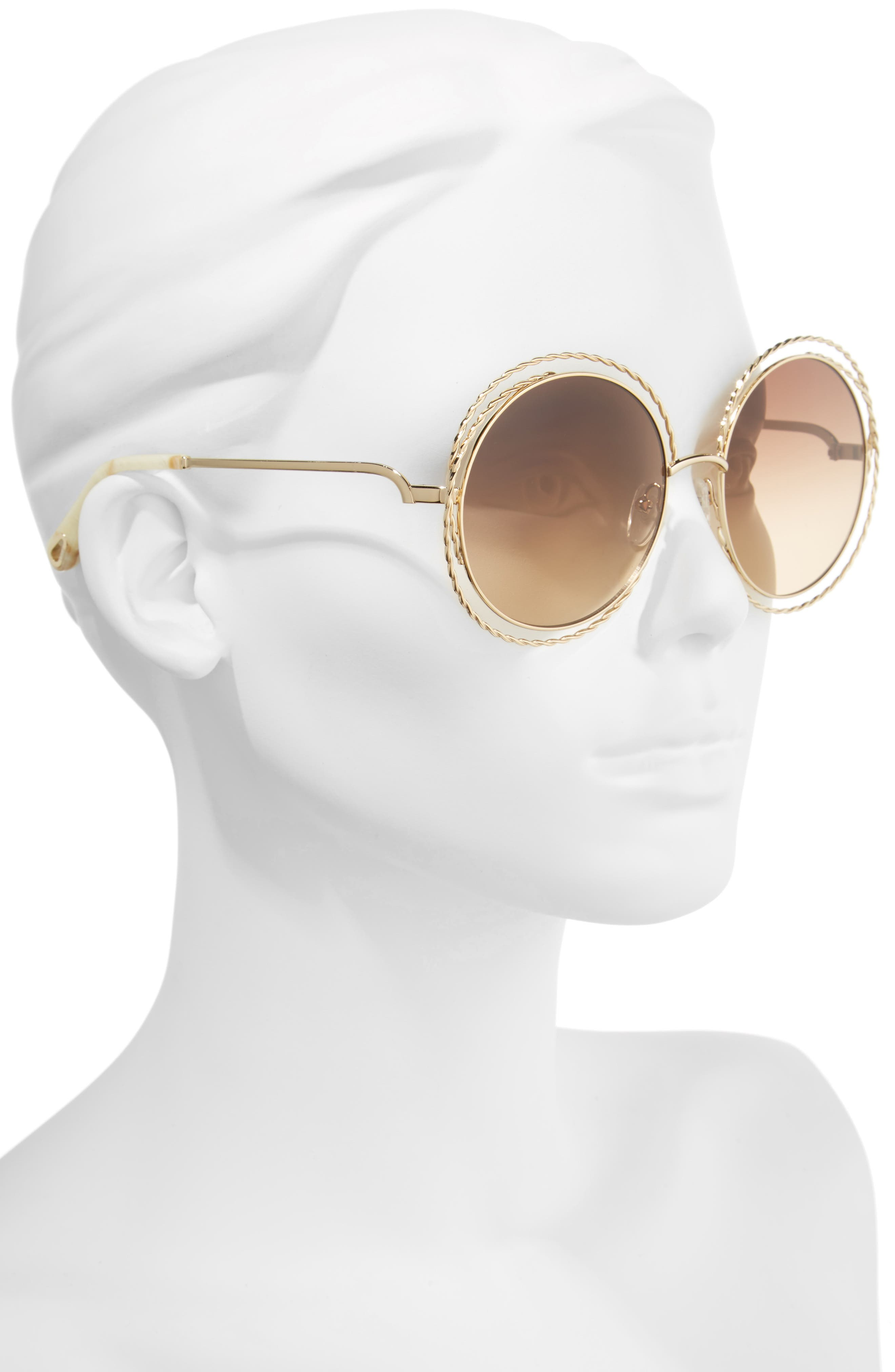 CHLOÉ, Carlina Torsade 58mm Round Sunglasses, Alternate thumbnail 2, color, GOLD/ BROWN
