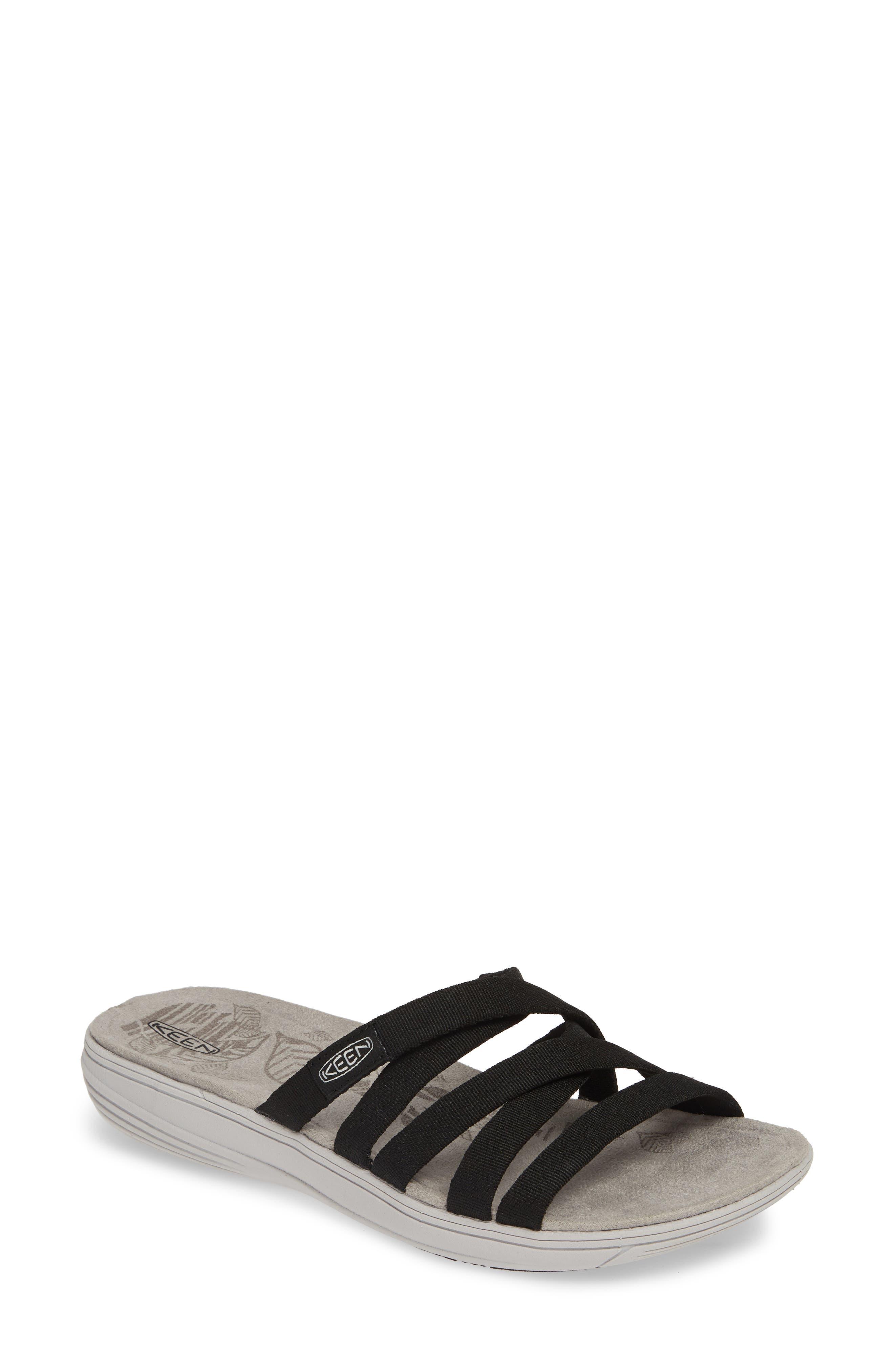 KEEN Damaya Slide Sandal, Main, color, BLACK/ VAPOR BLUE FABRIC