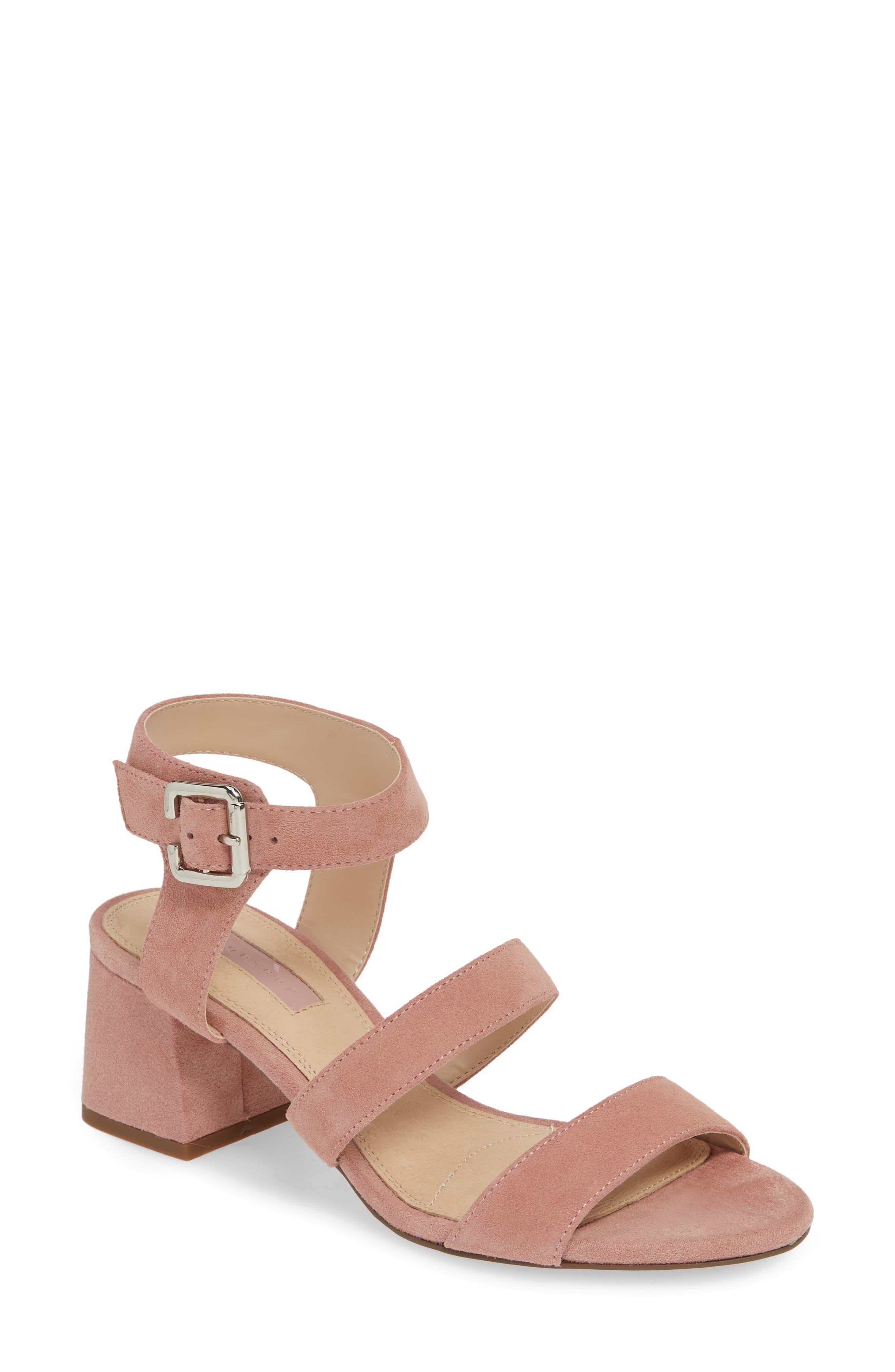 TOPSHOP Nicky Block Heel Sandal, Main, color, NUDE