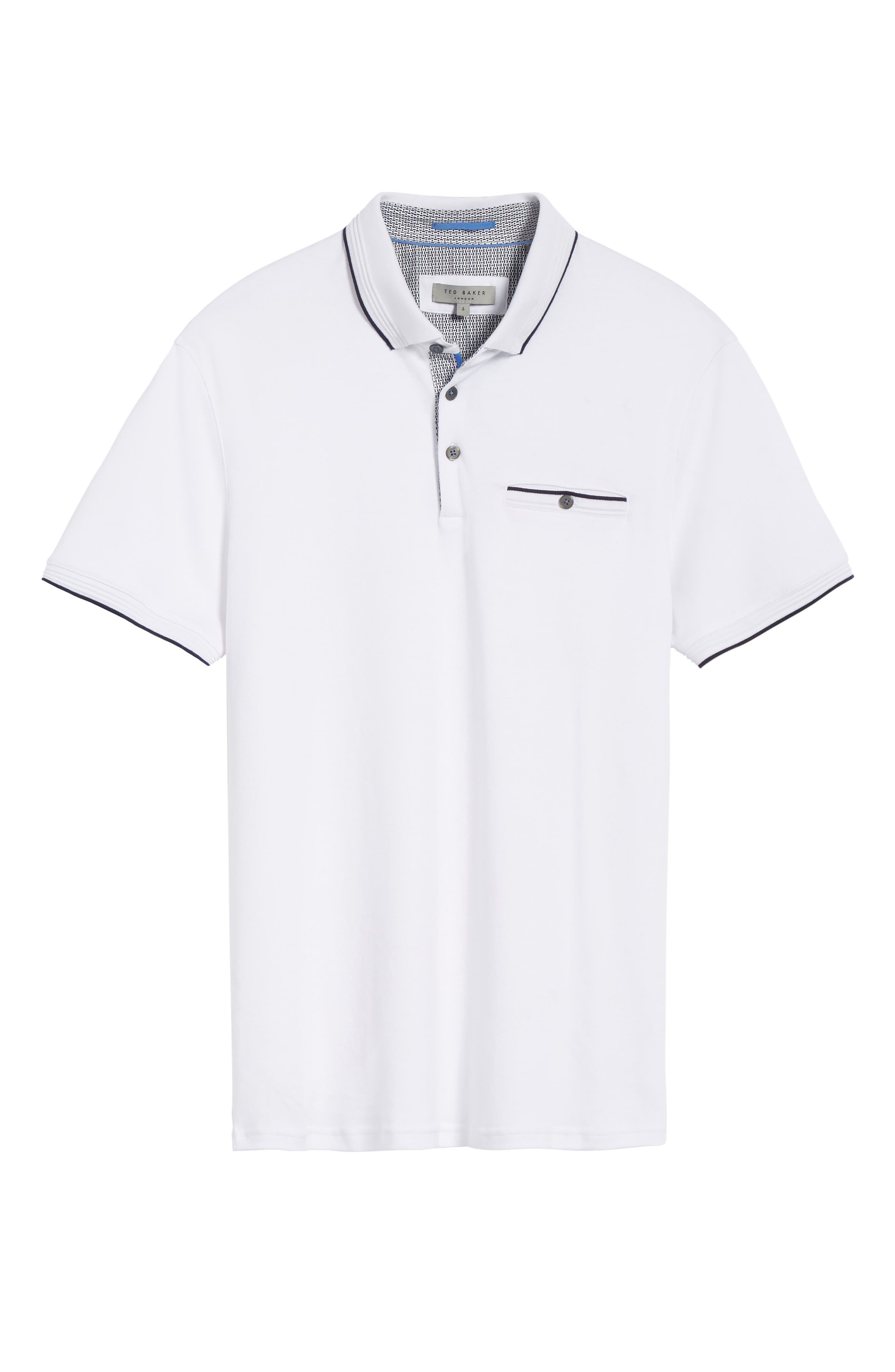 TED BAKER LONDON, Derry Modern Slim Fit Polo, Alternate thumbnail 6, color, WHITE