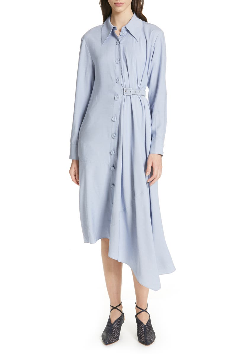 Tibi Dresses ASYMMETRICAL CHAMBRAY SHIRTDRESS