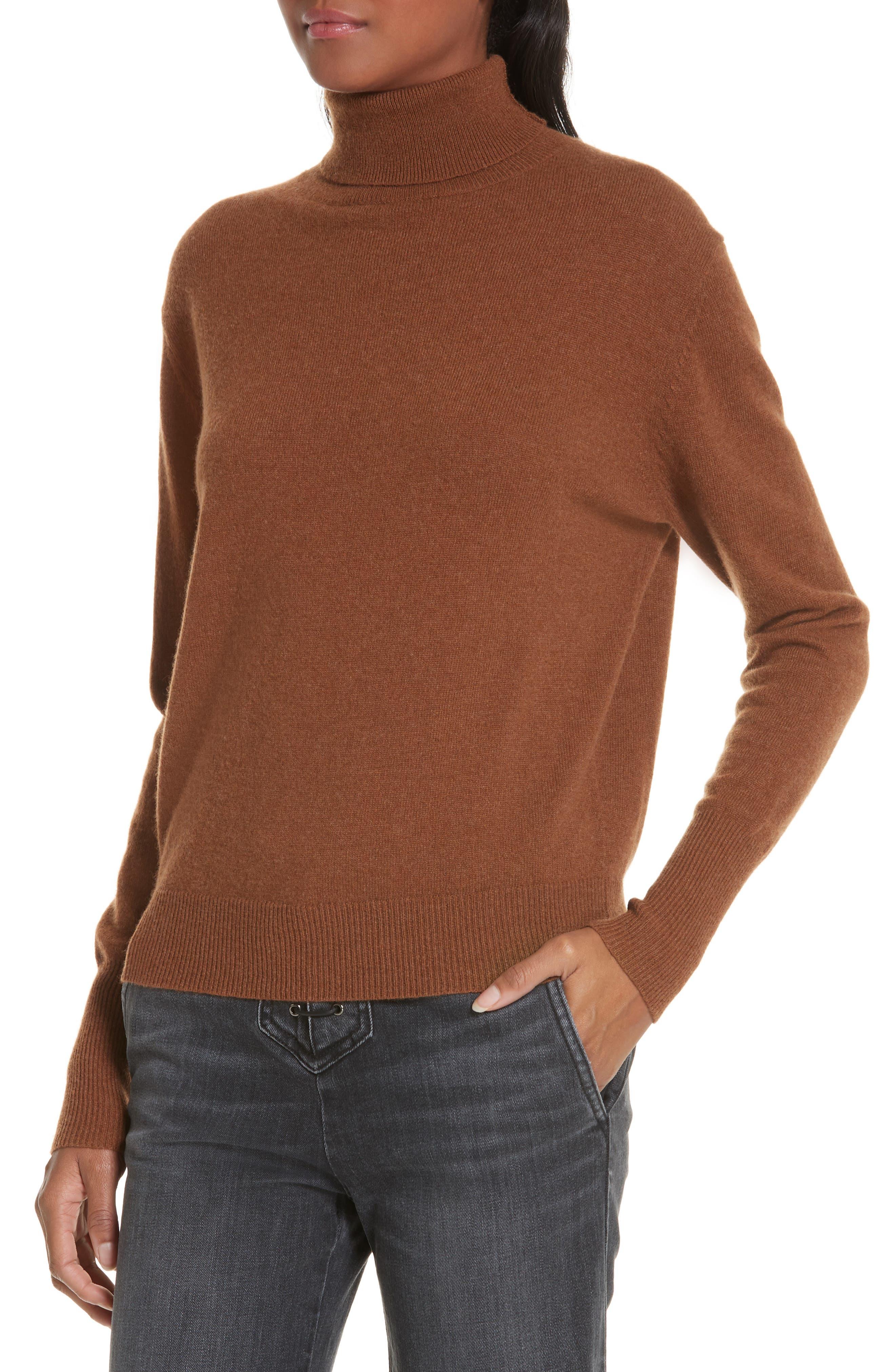 NILI LOTAN, Ralphie Cashmere Turtleneck Sweater, Alternate thumbnail 4, color, COGNAC