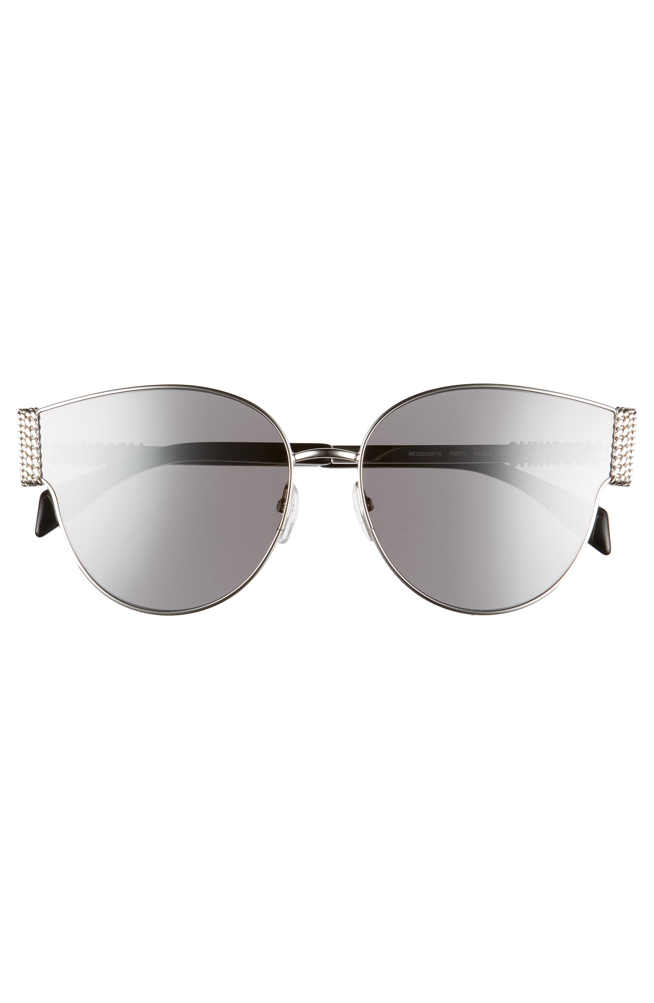 MOSCHINO, 61mm Special Fit Cat Eye Sunglasses, Alternate thumbnail 3, color, SILVER/ BLACK