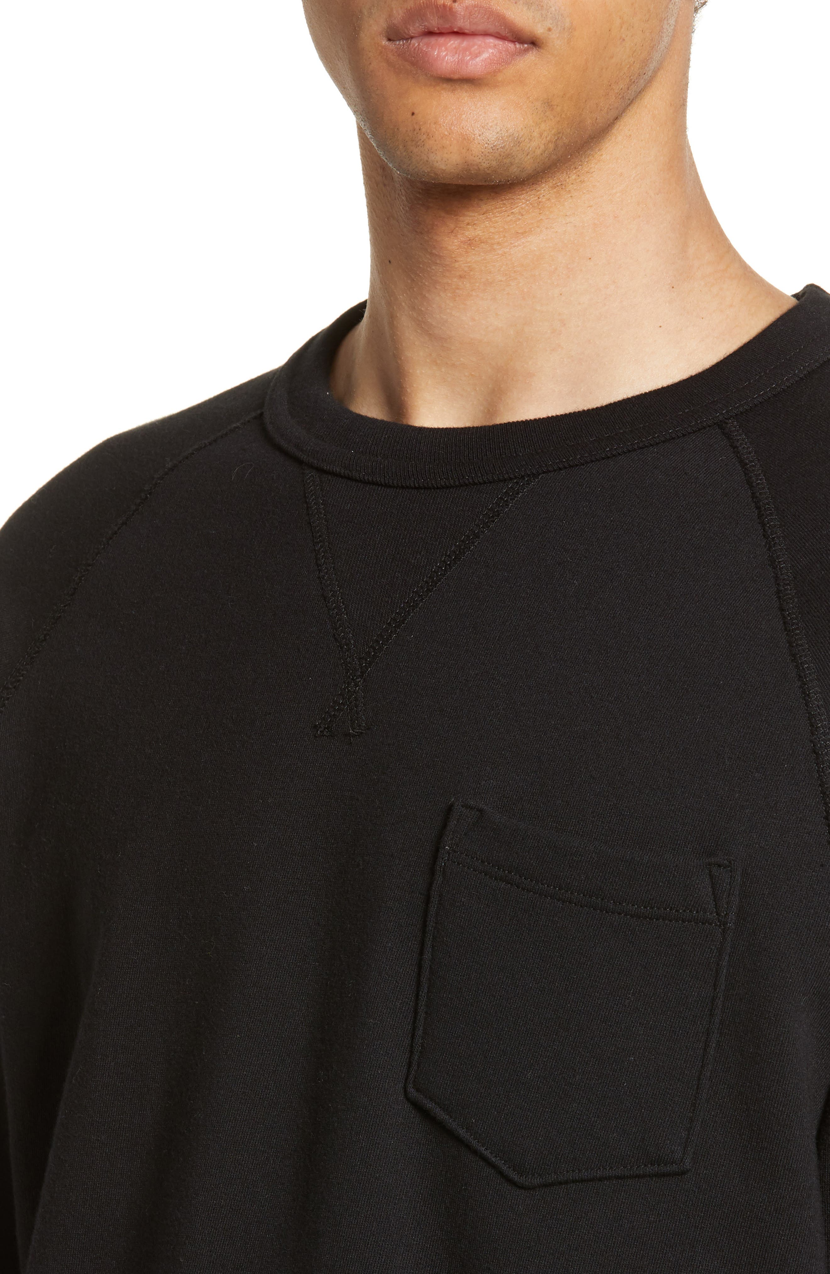 TODD SNYDER + CHAMPION, Todd Snyder Classic Pocket Sweatshirt, Alternate thumbnail 4, color, BLACK