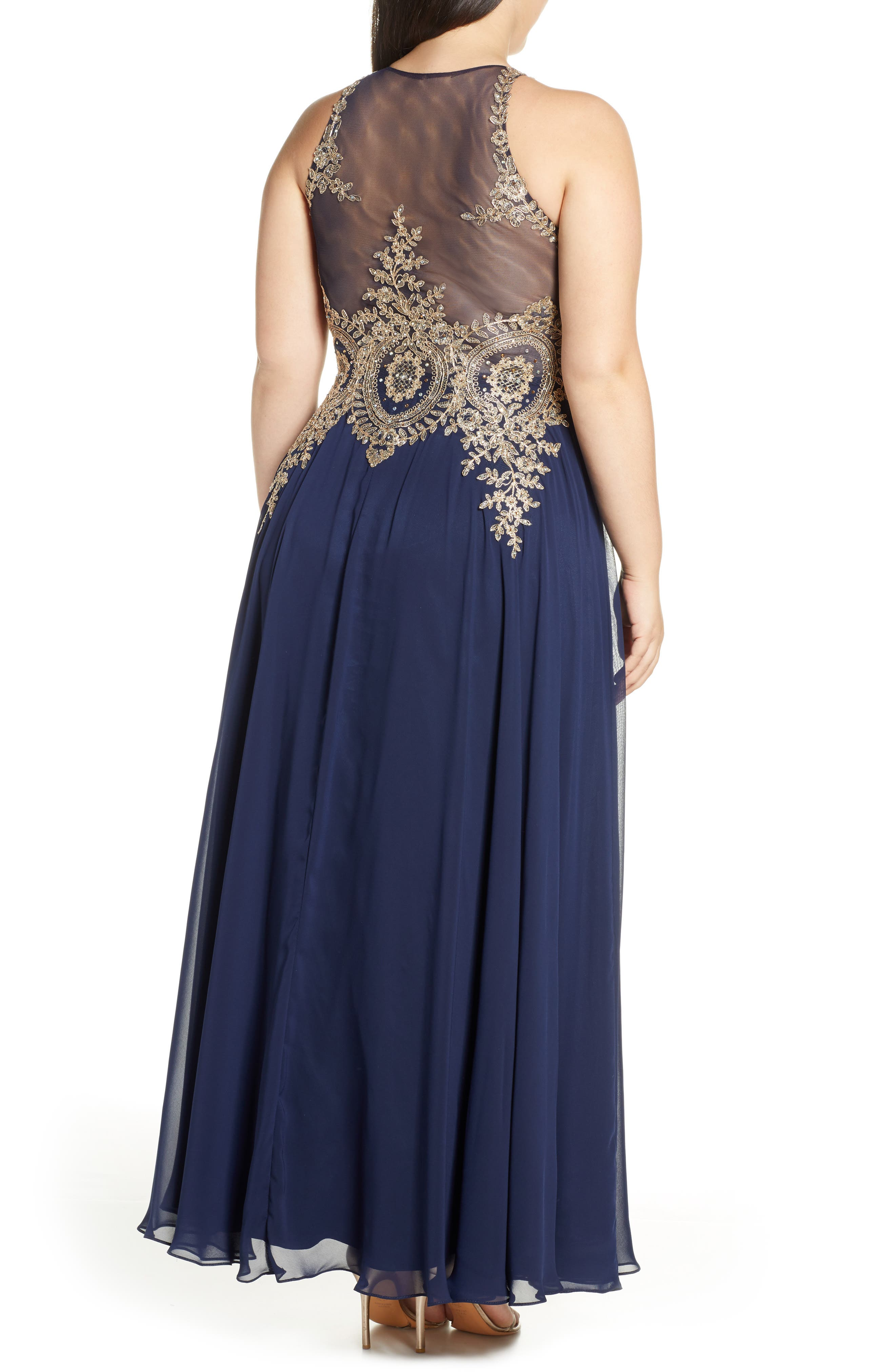 XSCAPE, Metallic Embroidered Gown, Alternate thumbnail 2, color, NAVY/ GOLD