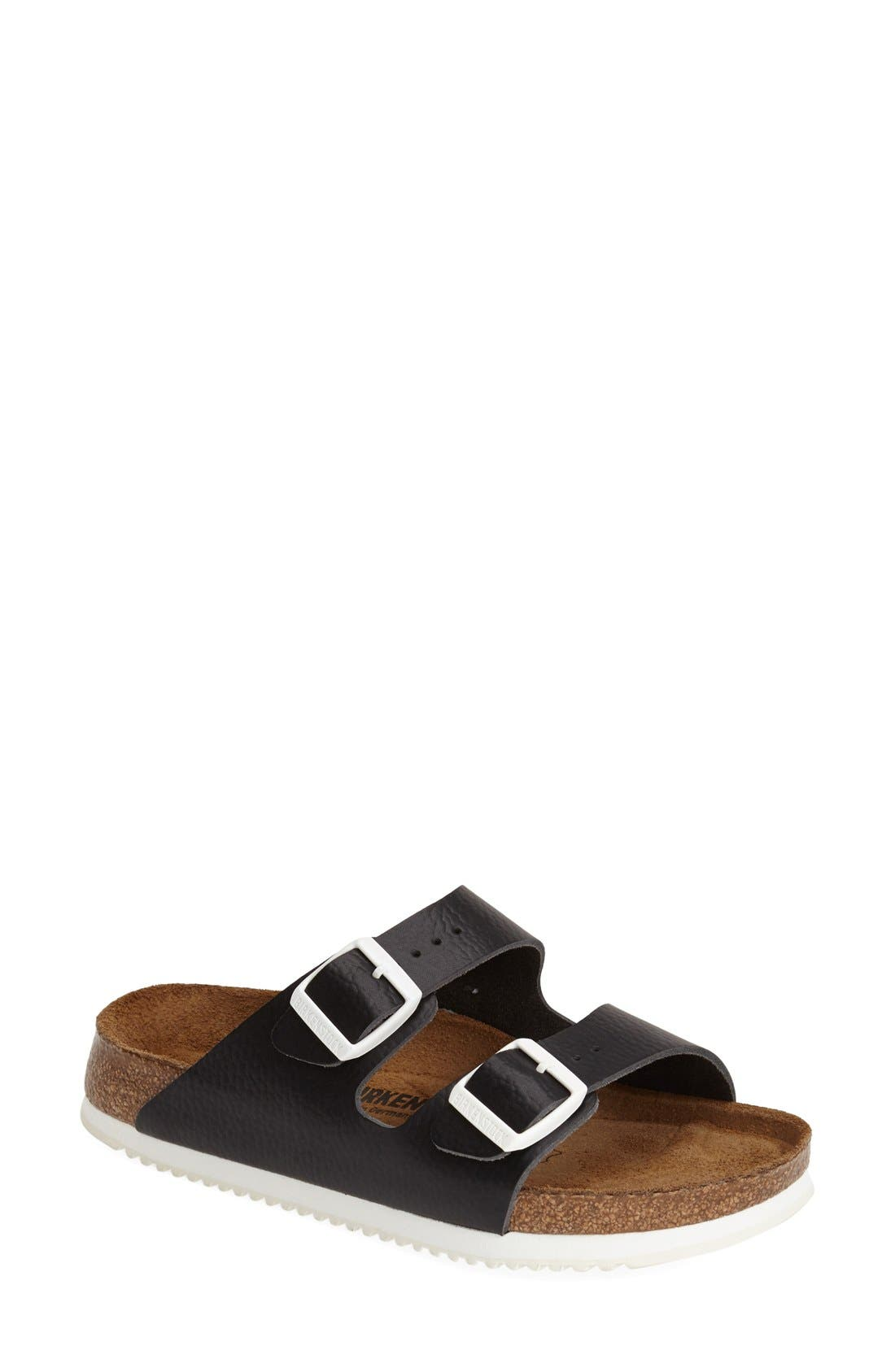 BIRKENSTOCK, 'Arizona' Leather Double Band Footbed Sandal, Main thumbnail 1, color, 001