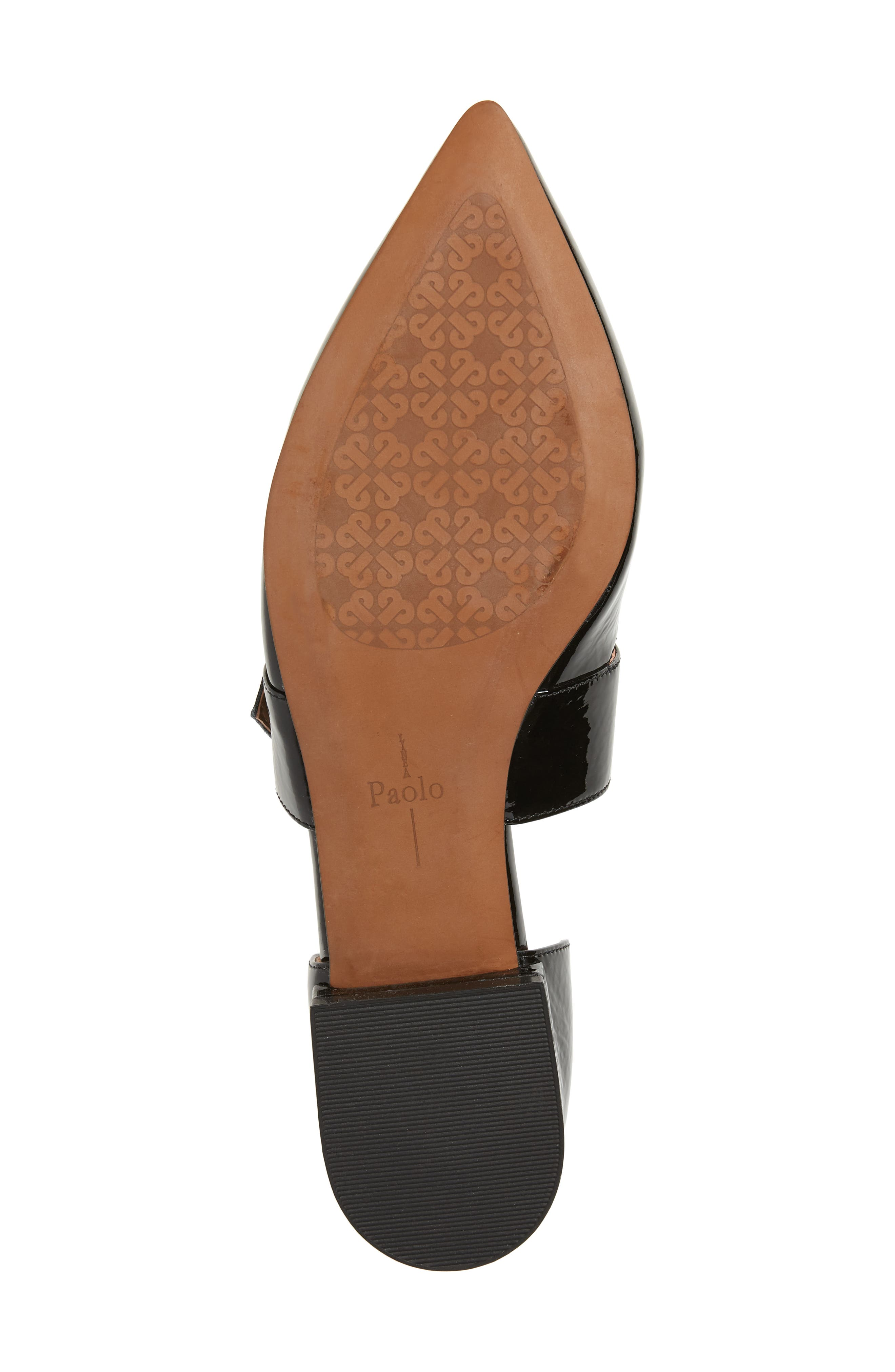 LINEA PAOLO, Dean Pointy Toe Flat, Alternate thumbnail 6, color, BLACK WRINKLE PATENT