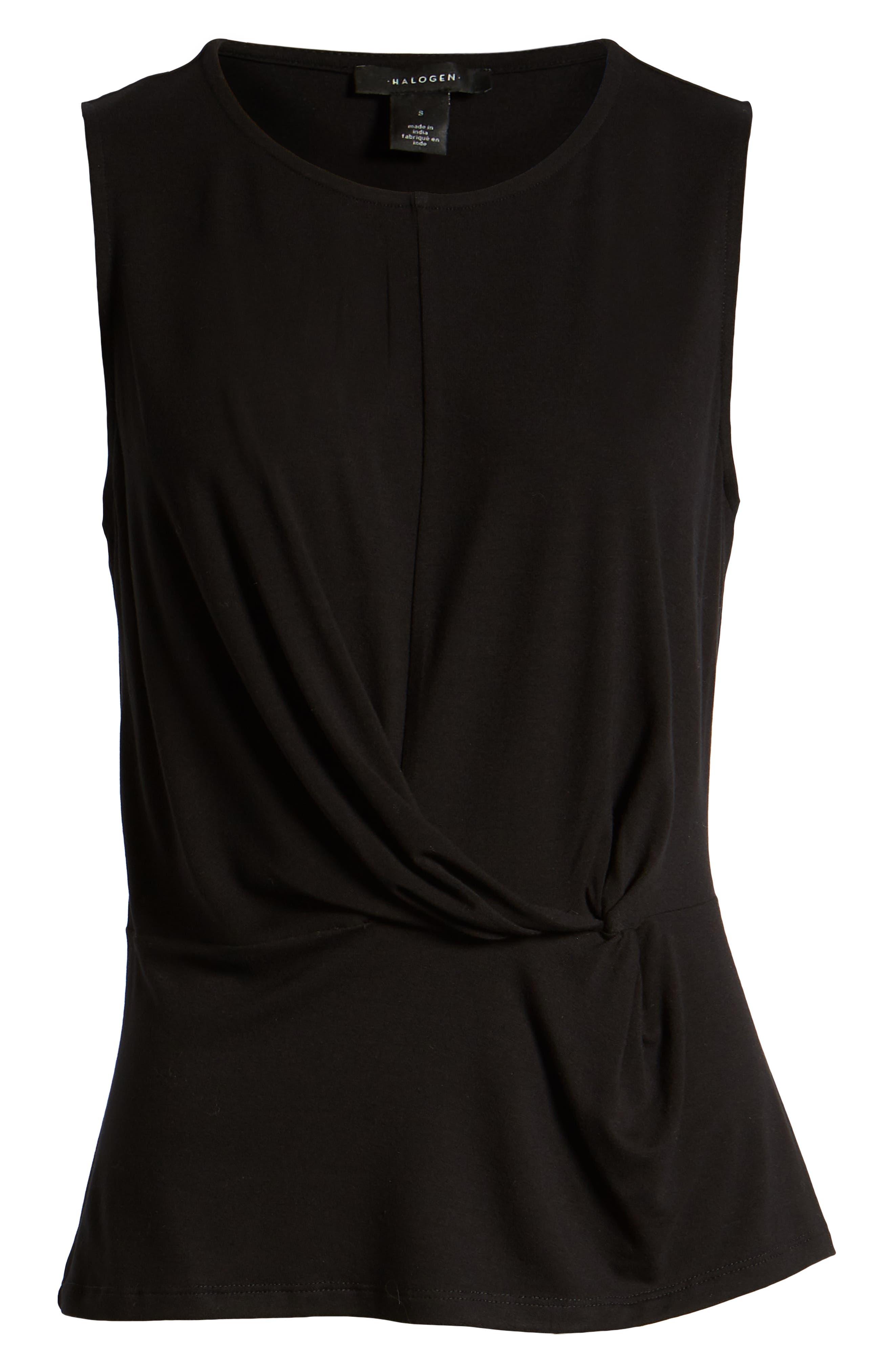 HALOGEN<SUP>®</SUP>, Waist Detail Sleeveless Top, Alternate thumbnail 6, color, BLACK