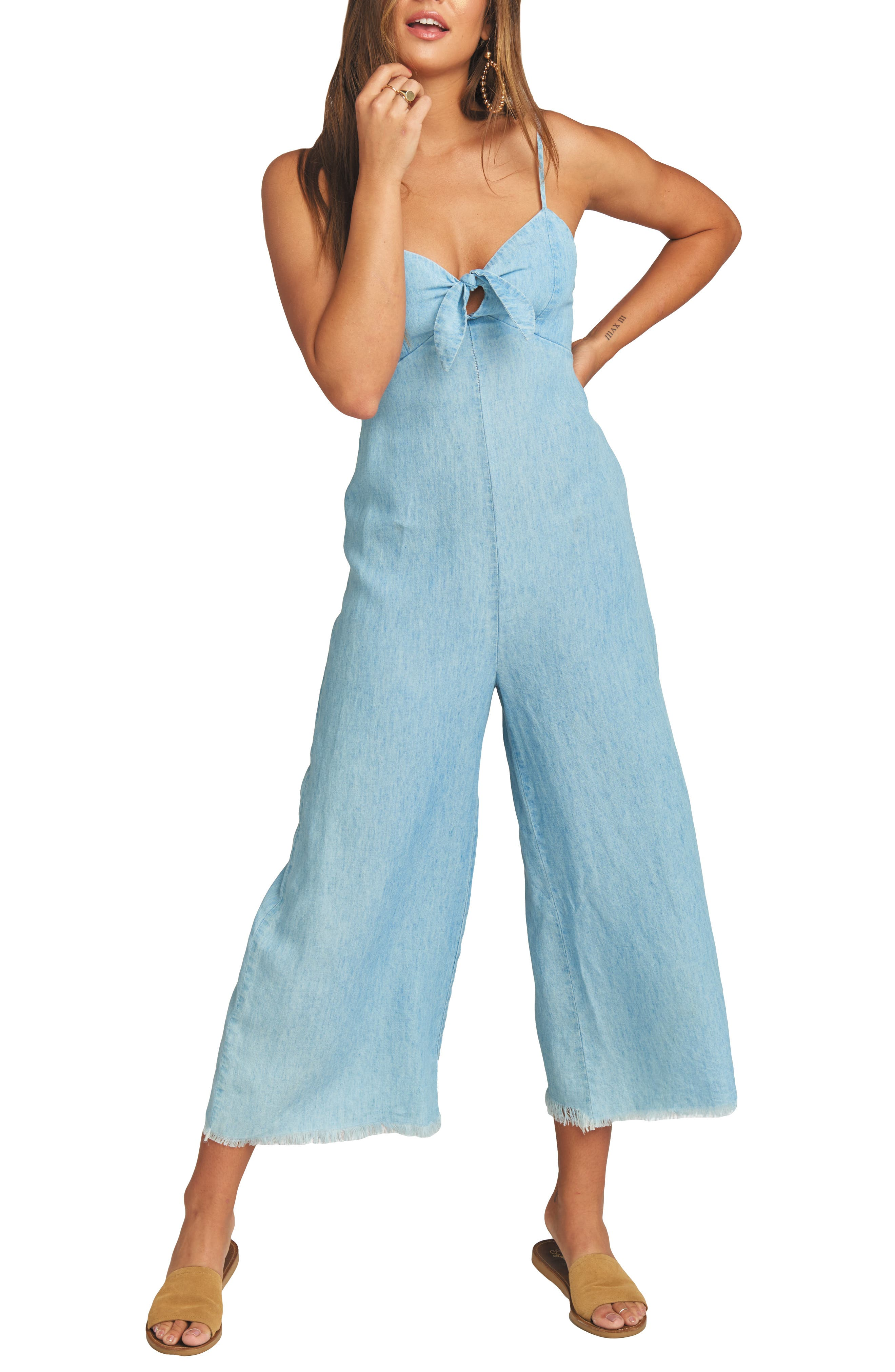 Show Me Your Mumu Paolo Chambray Wide Leg Jumpsuit, Blue