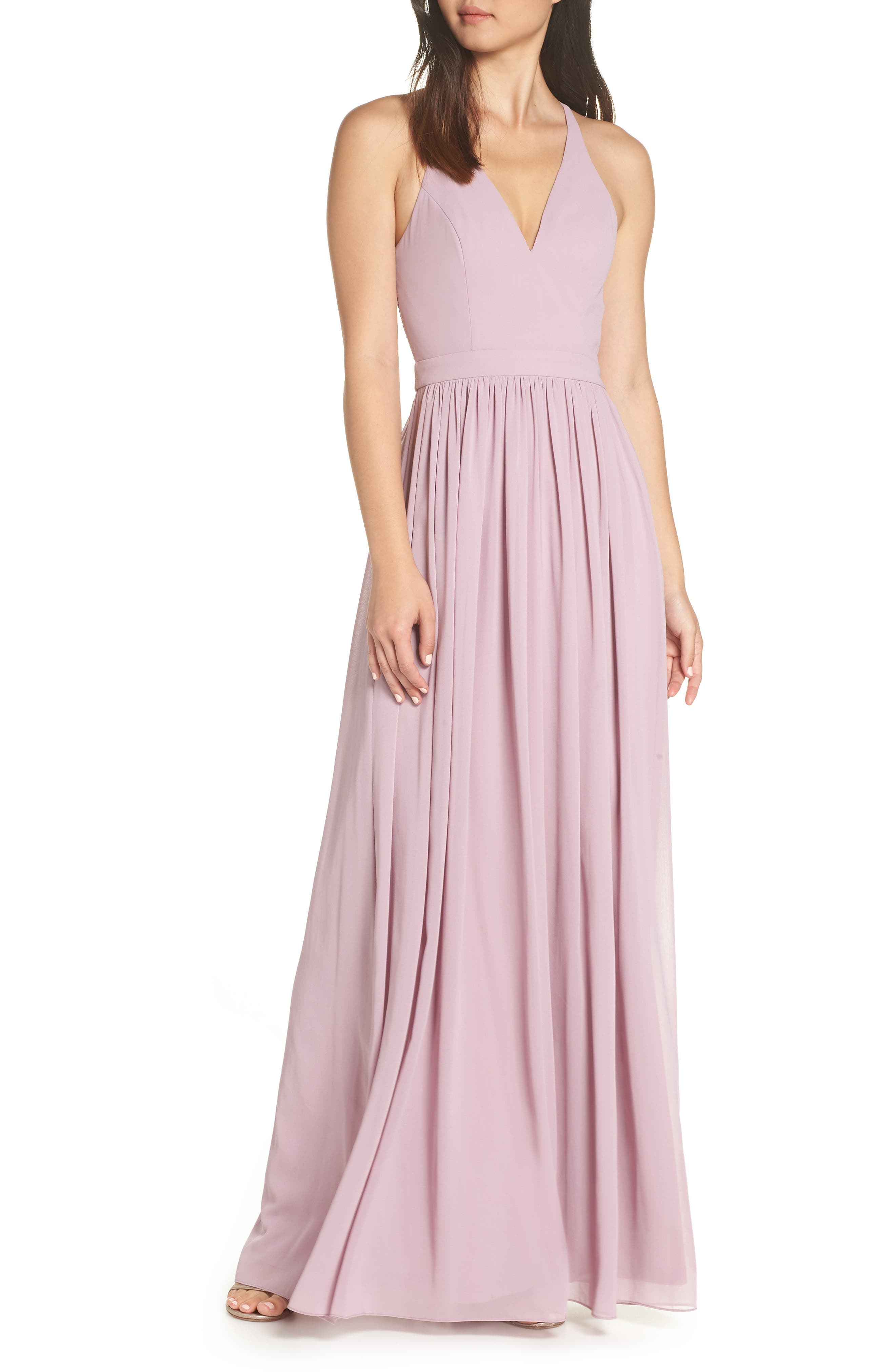 LULUS, Everlasting Beauty Lace Back Chiffon Gown, Main thumbnail 1, color, LAVENDER