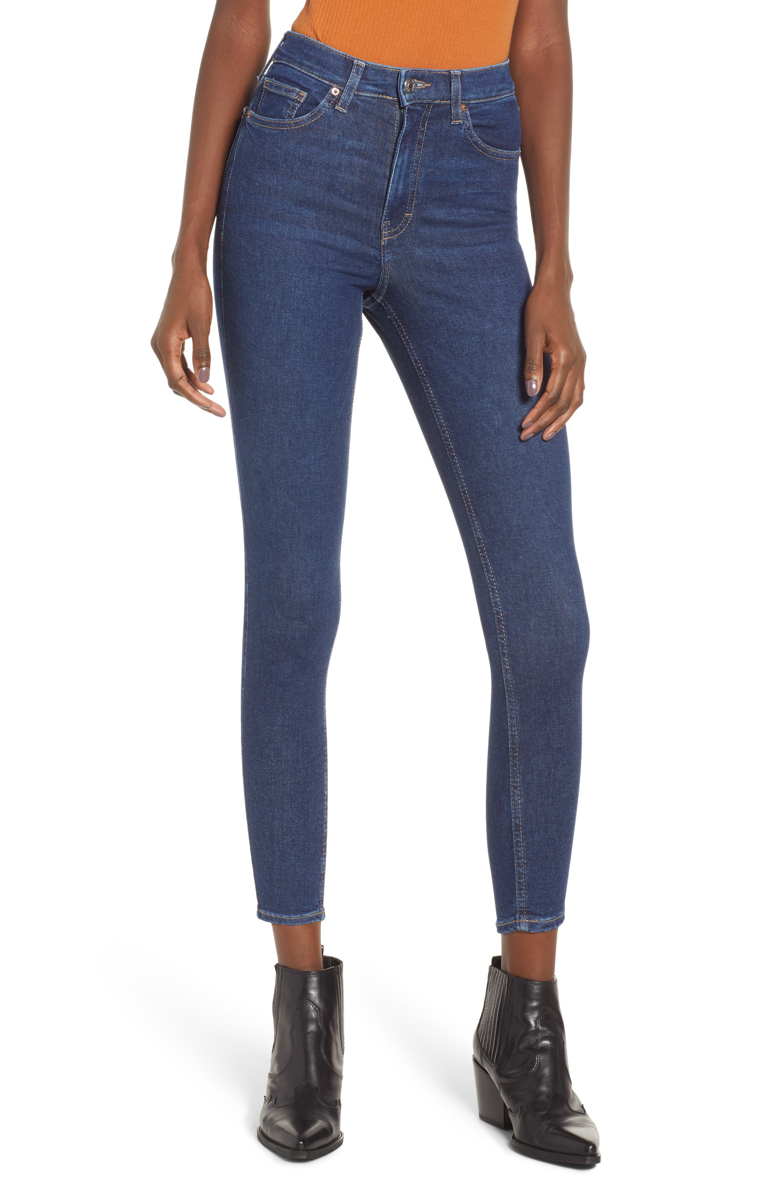 TOPSHOP, MOTO Jamie High Waist Skinny Jeans, Main thumbnail 1, color, INDIGO