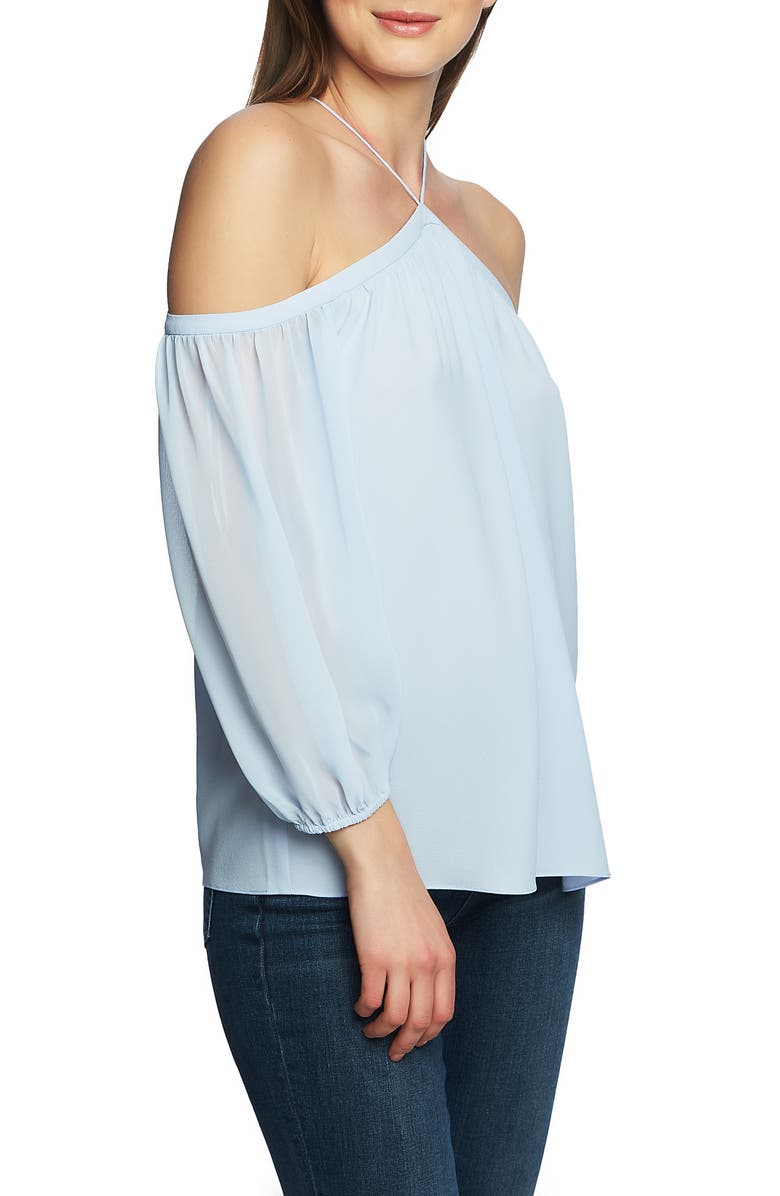 0c55bfae8d485a 1.STATE Off the Shoulder Sheer Chiffon Blouse