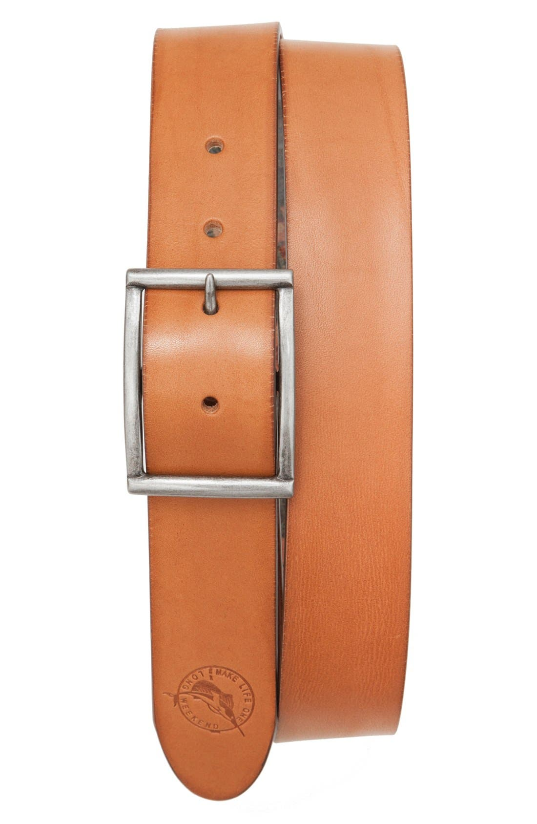 TOMMY BAHAMA Reversible Hibiscus Print Leather Belt, Main, color, TAN