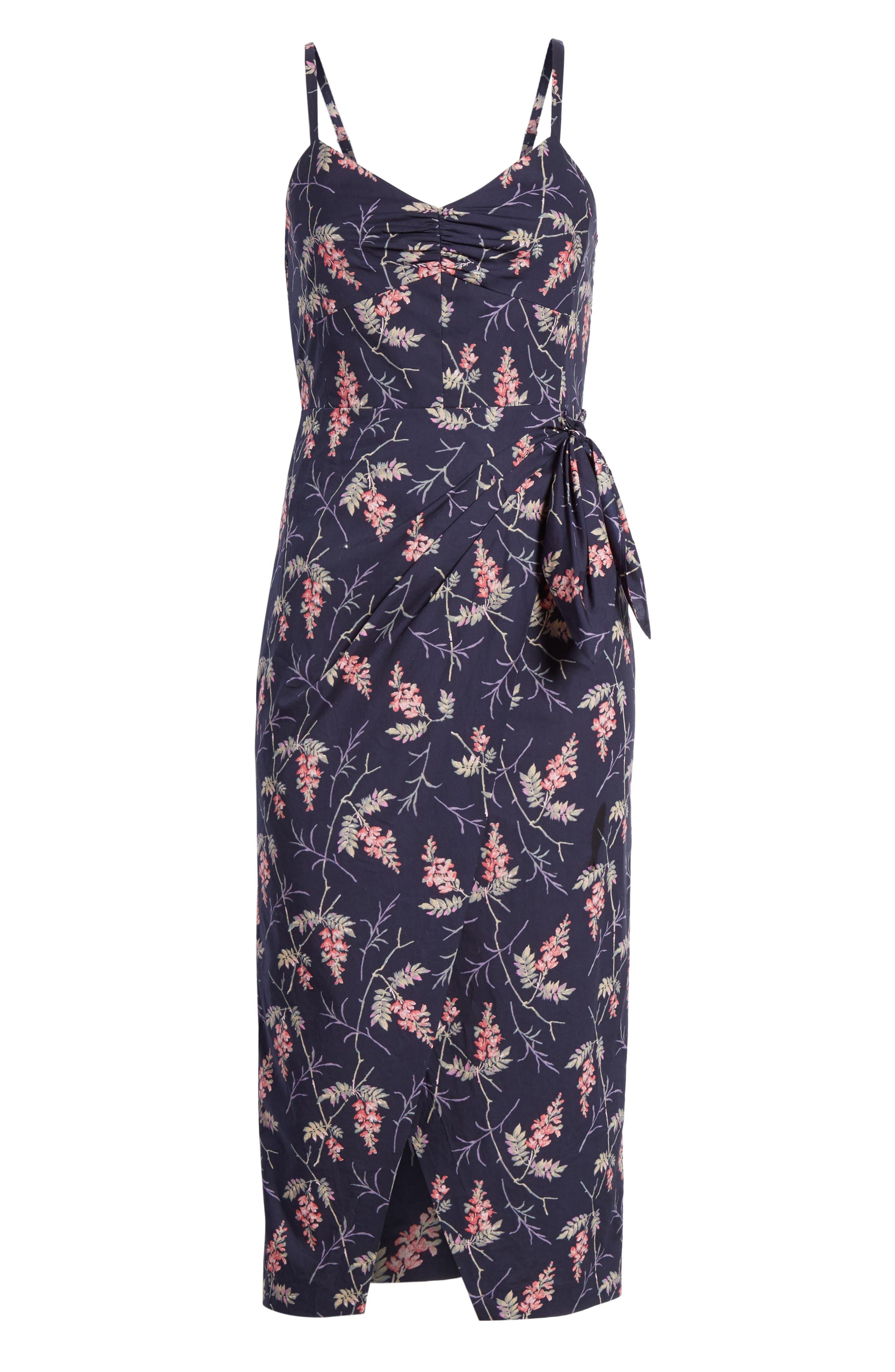 REBECCA TAYLOR, Ivie Floral Sleeveless Cotton Midi Sundress, Alternate thumbnail 7, color, NAVY COMBO