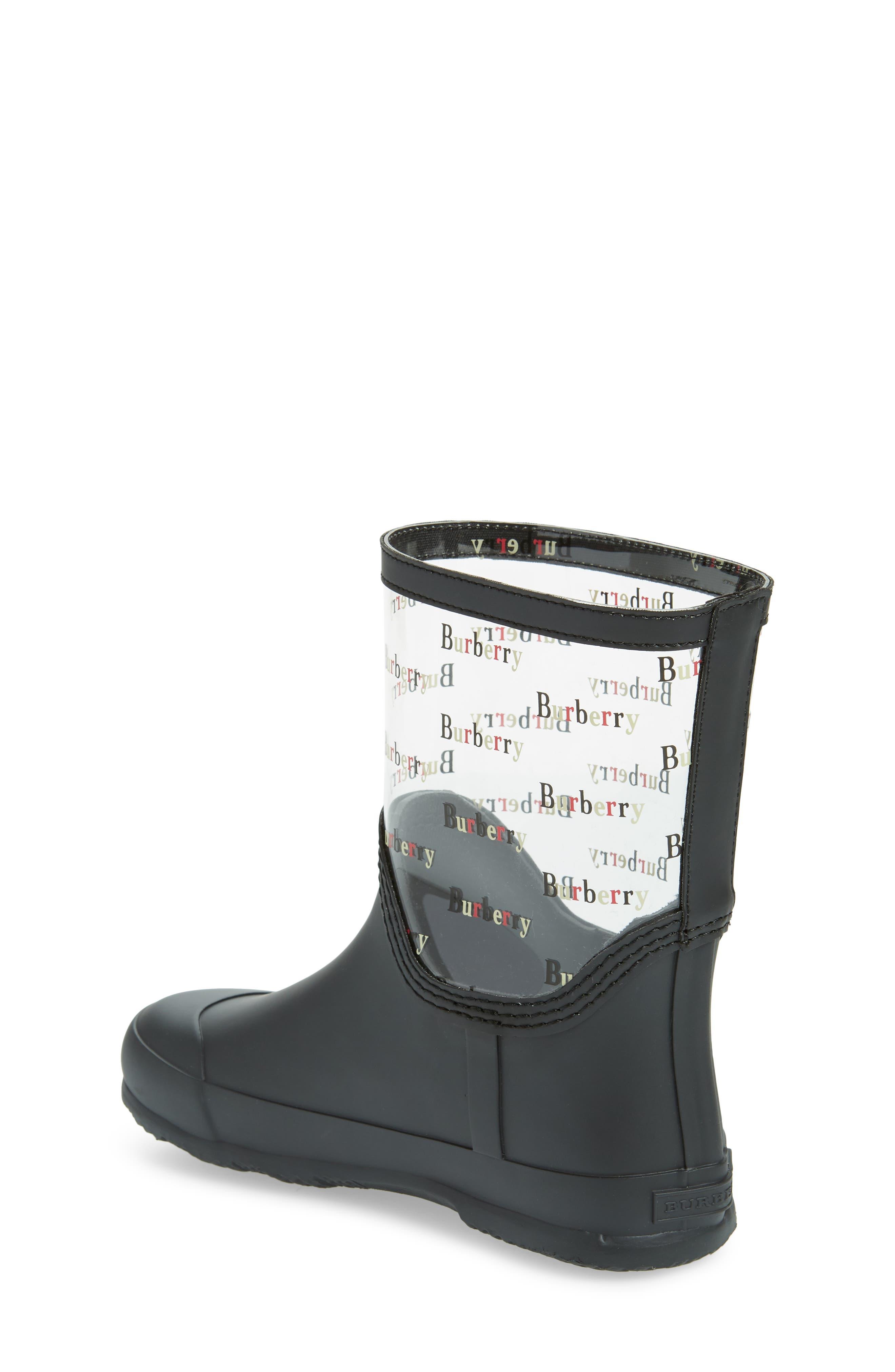 BURBERRY, Frosty Waterproof Rain Boot, Alternate thumbnail 2, color, BLACK