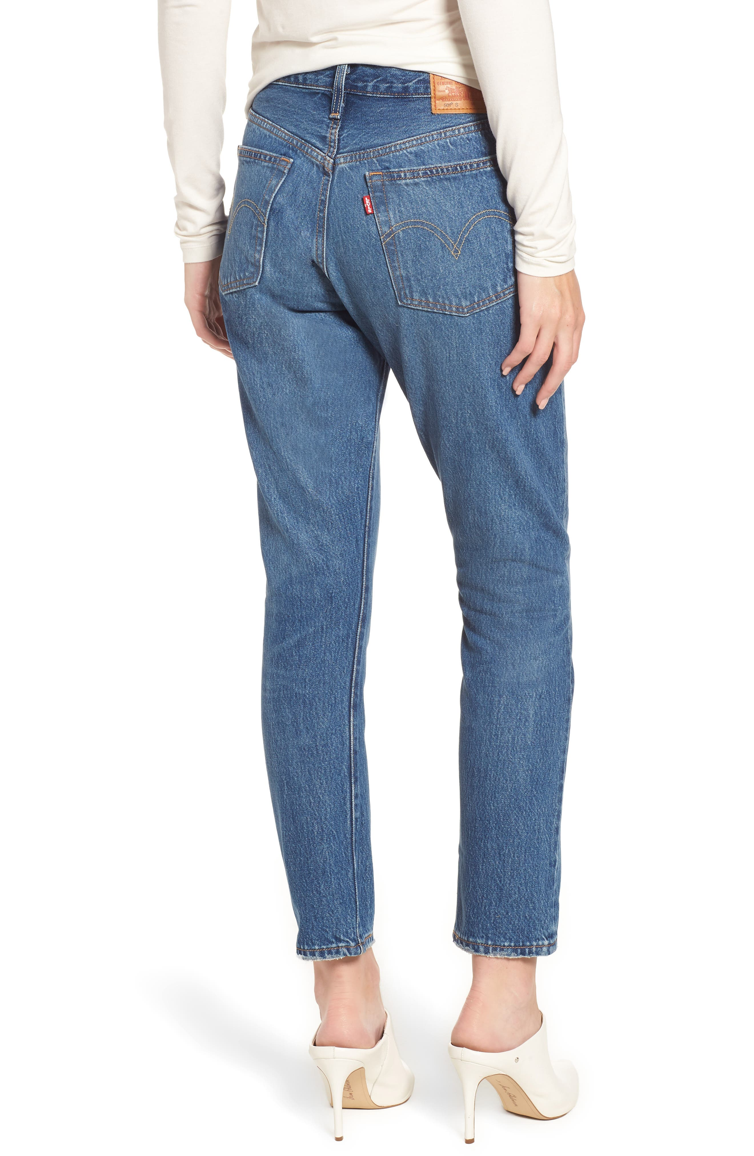 LEVI'S<SUP>®</SUP>, 501<sup>®</sup> High Waist Ankle Skinny Jeans, Alternate thumbnail 2, color, CHILL PILL