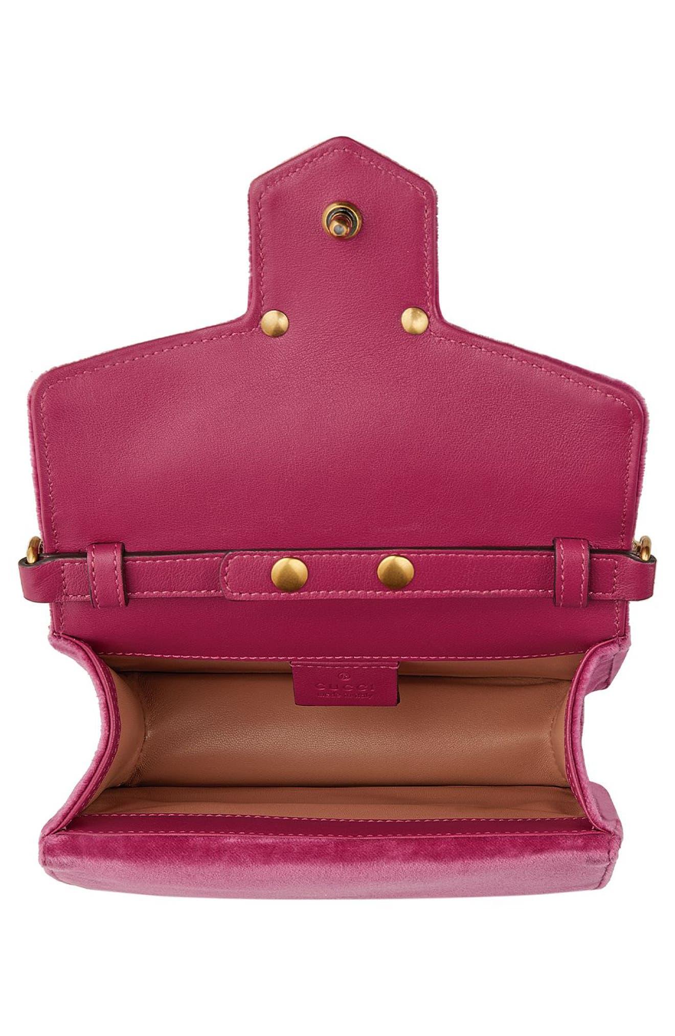 GUCCI, Broadway Bee Velvet Shoulder Bag, Alternate thumbnail 3, color, PINK