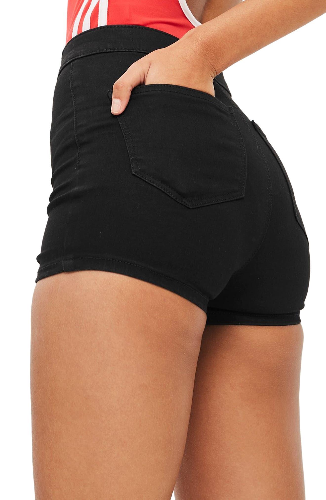 TOPSHOP, Joni High Waist Denim Shorts, Alternate thumbnail 2, color, BLACK