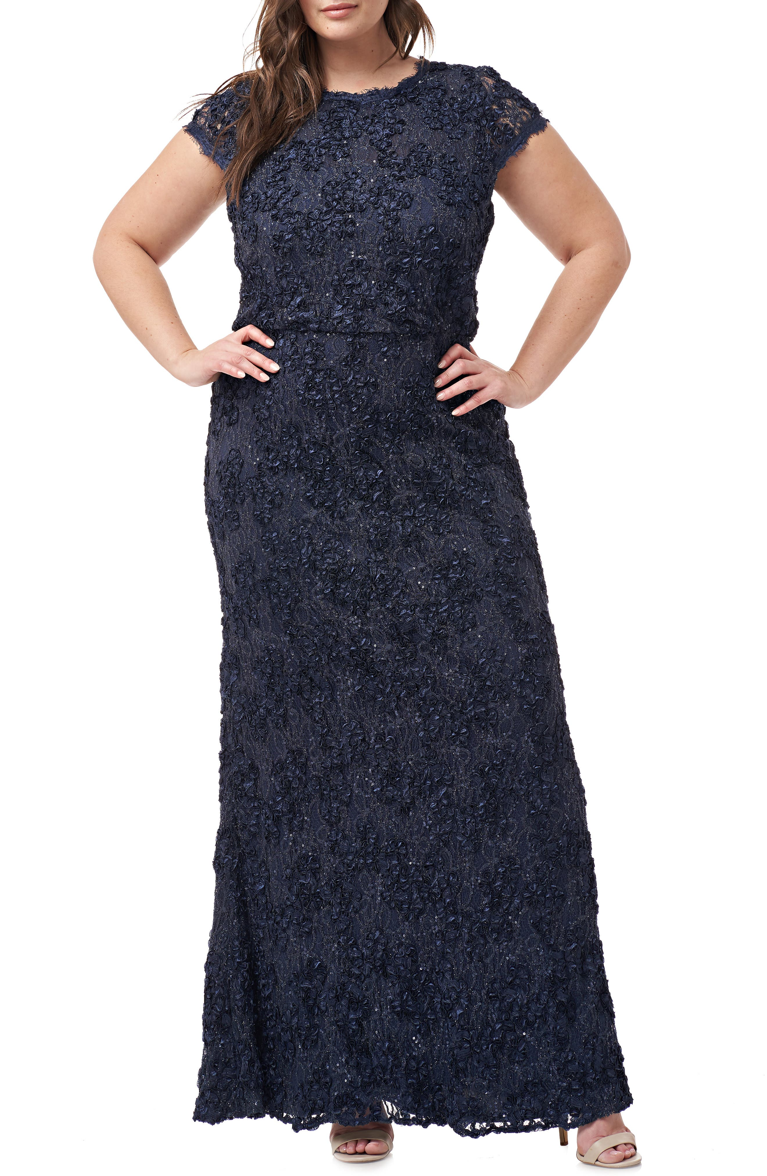 Plus Size Js Collections Sequin Lace Blouson Gown, Blue
