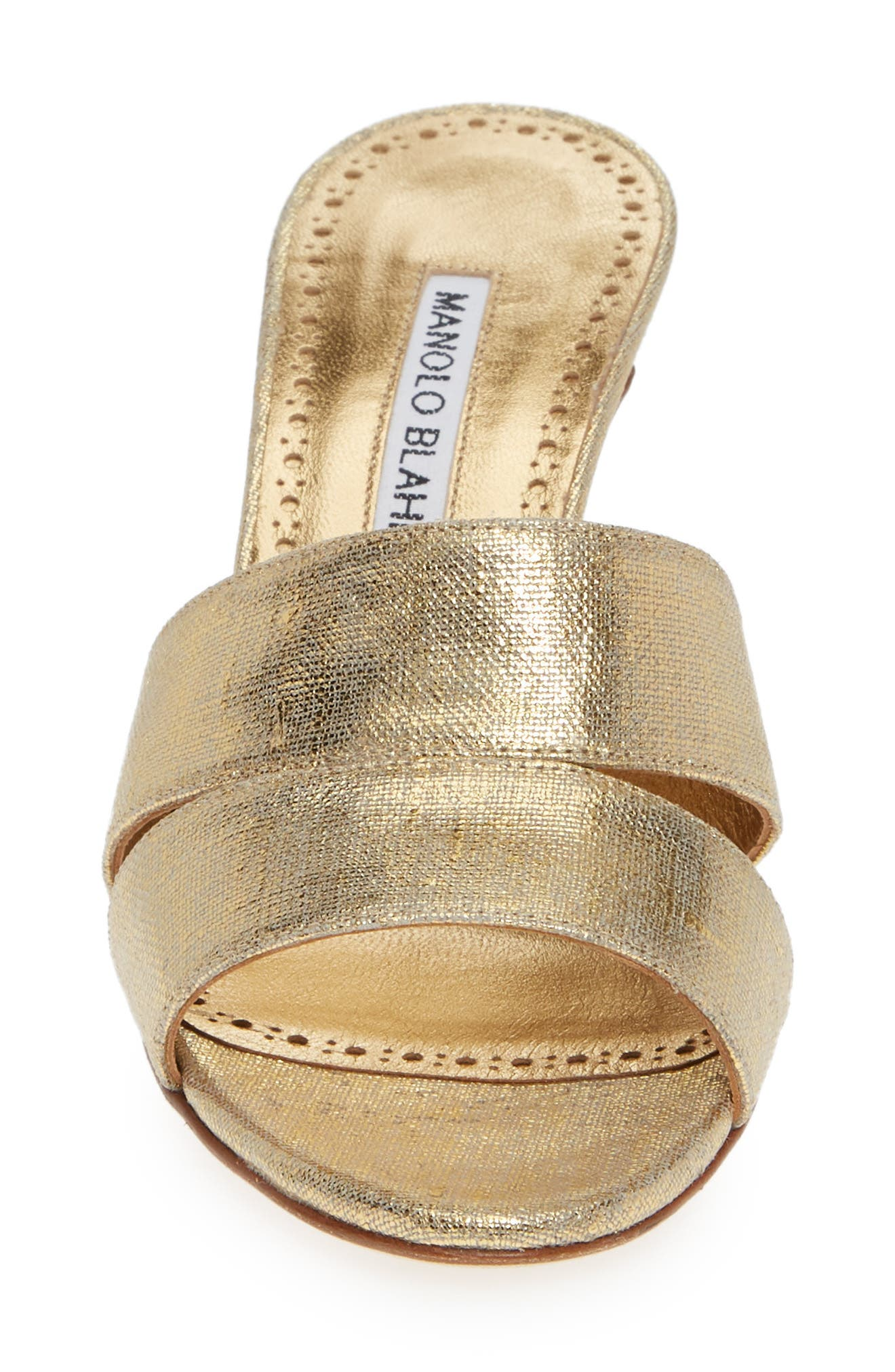 MANOLO BLAHNIK, Iacopo Mule Sandal, Alternate thumbnail 4, color, GOLD
