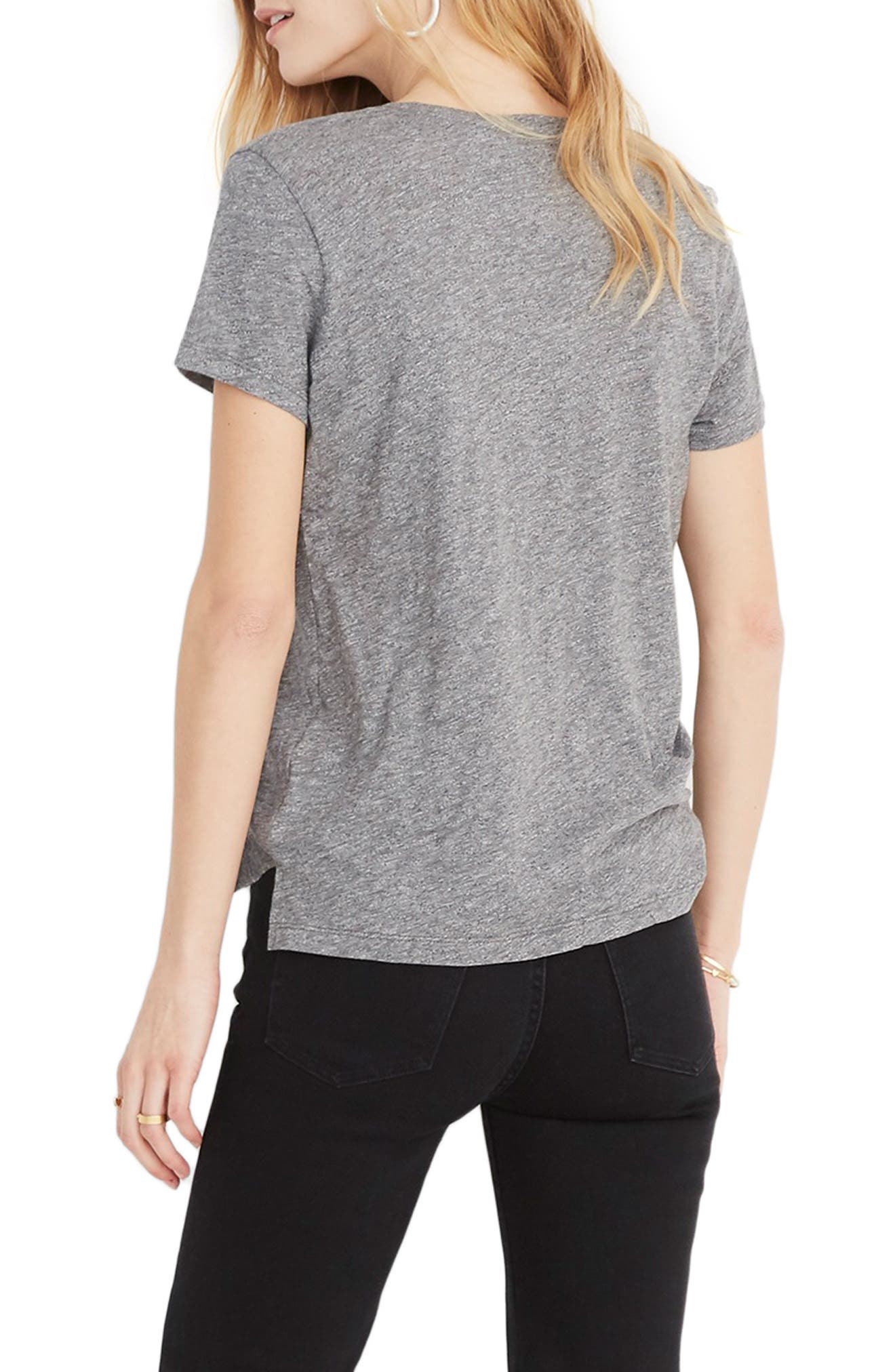 MADEWELL, Whisper Cotton V-Neck Pocket Tee, Alternate thumbnail 2, color, HEATHER MERCURY