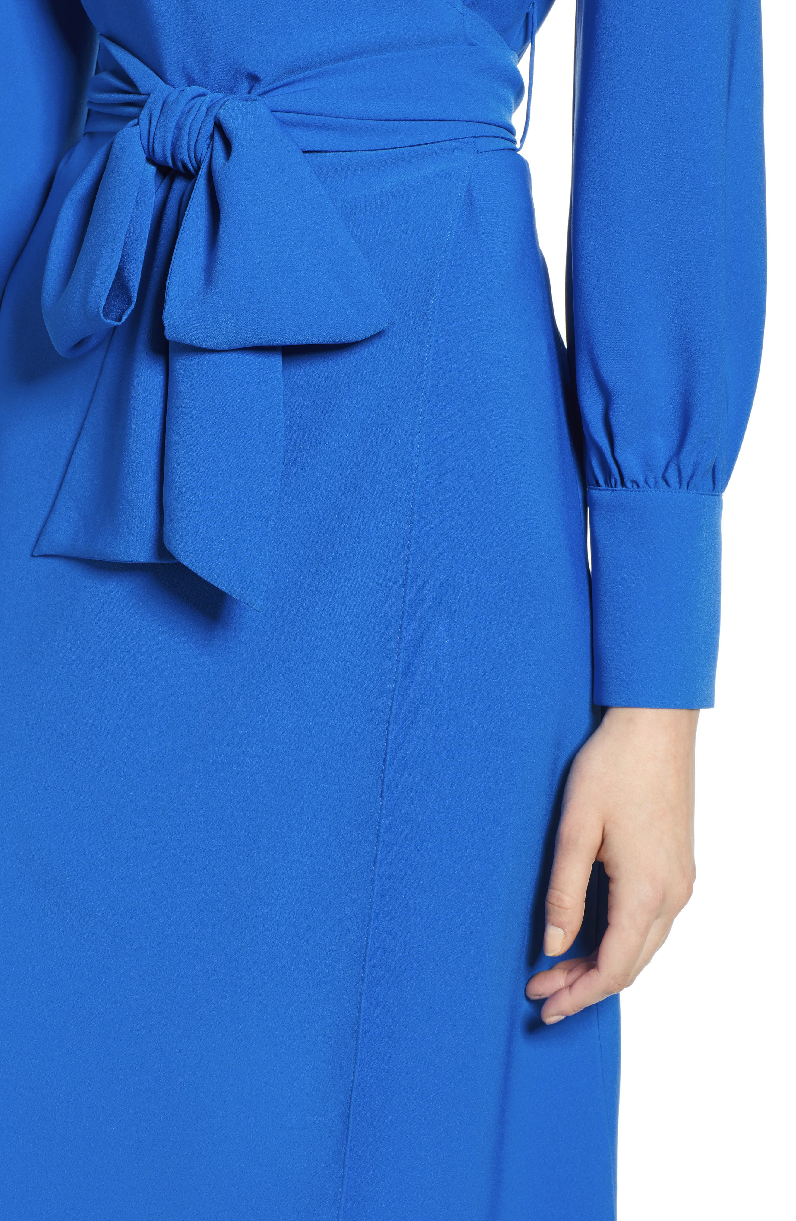 HALOGEN<SUP>®</SUP>, Wrap Dress, Alternate thumbnail 5, color, BLUE VICTORIA