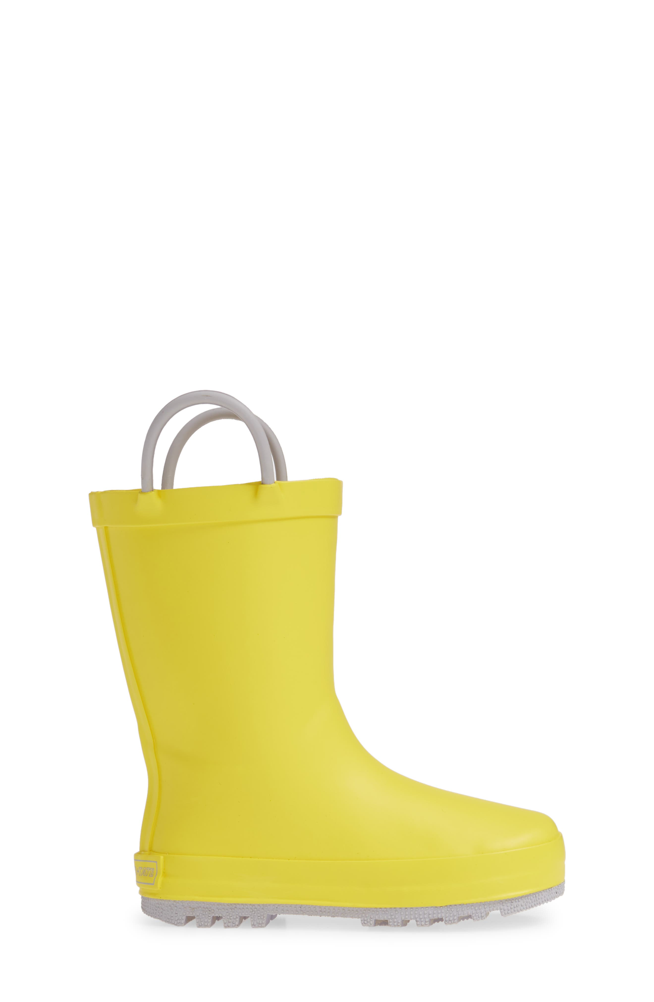 TUCKER + TATE, Puddle Rain Boot, Alternate thumbnail 3, color, YELLOW/ GREY RUBBER