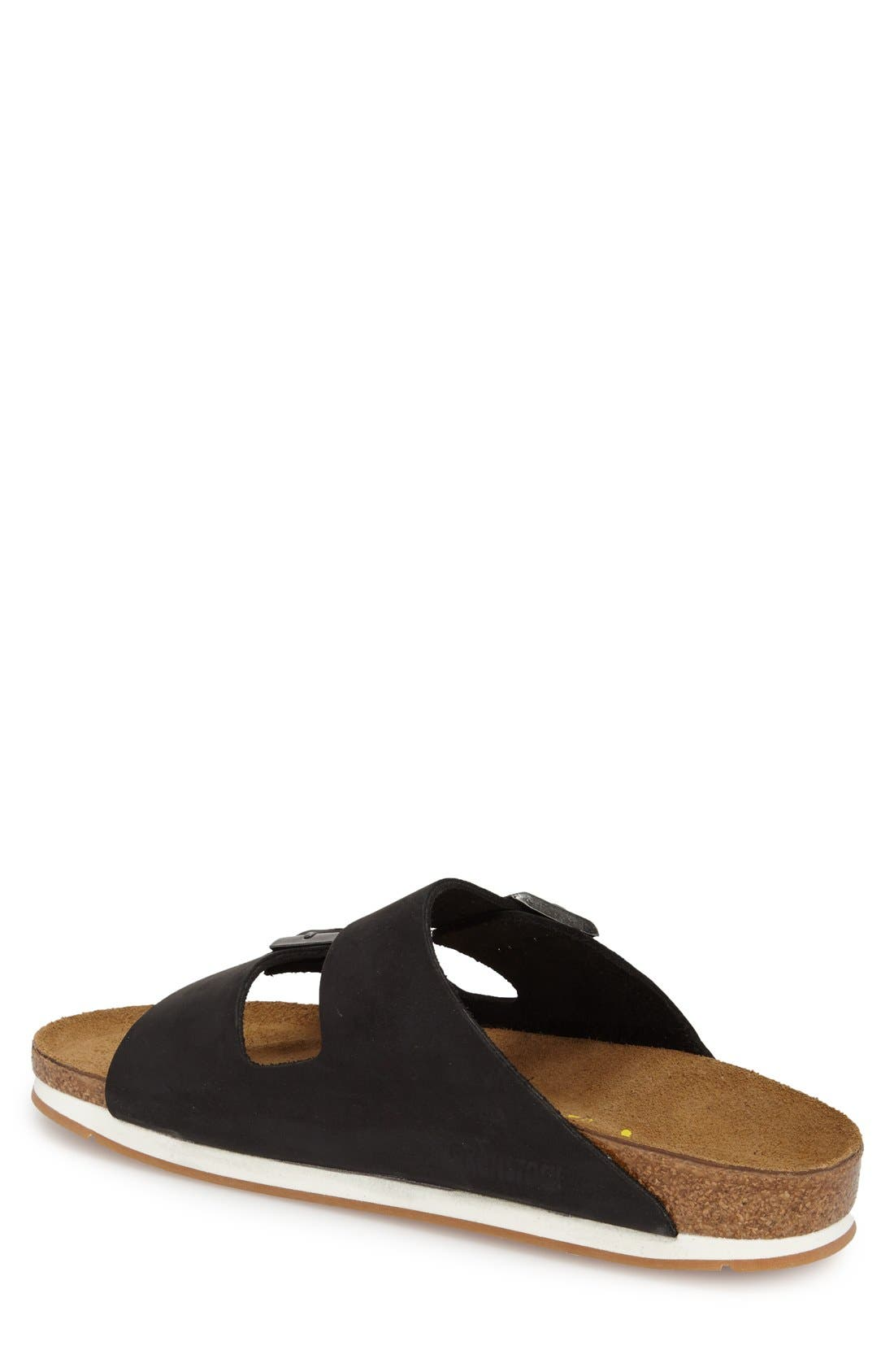 BIRKENSTOCK, 'Arizona' Leather Slide Sandal, Alternate thumbnail 4, color, 001