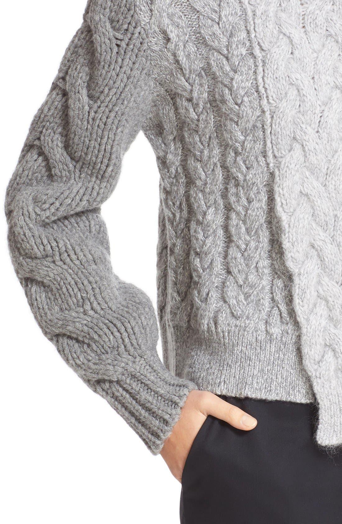 STELLA MCCARTNEY, Mixed Media Turtleneck Sweater, Alternate thumbnail 3, color, 120