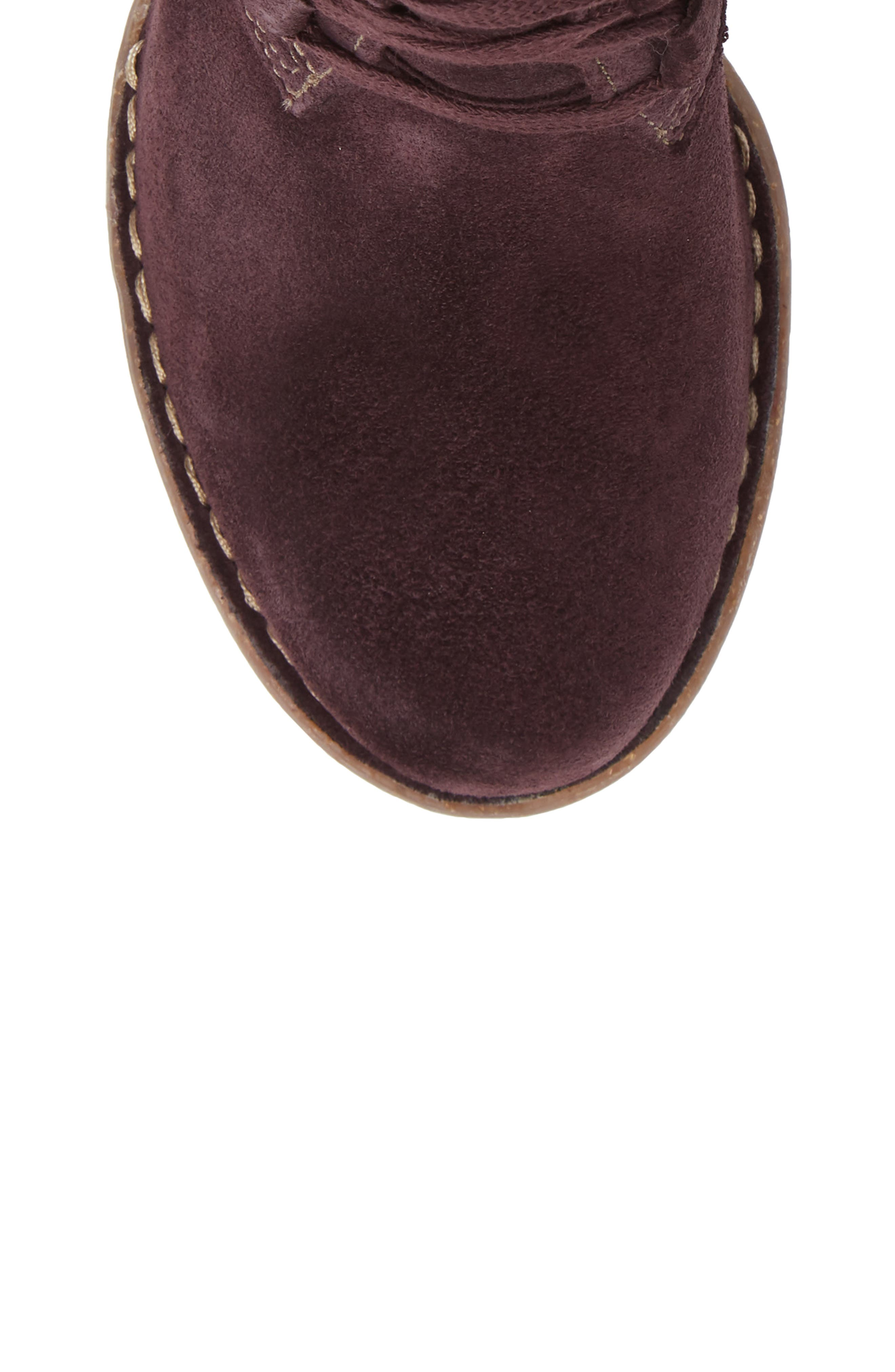 CLARKS<SUP>®</SUP>, Carleta Lyon Ankle Boot, Alternate thumbnail 5, color, AUBERGINE SUEDE