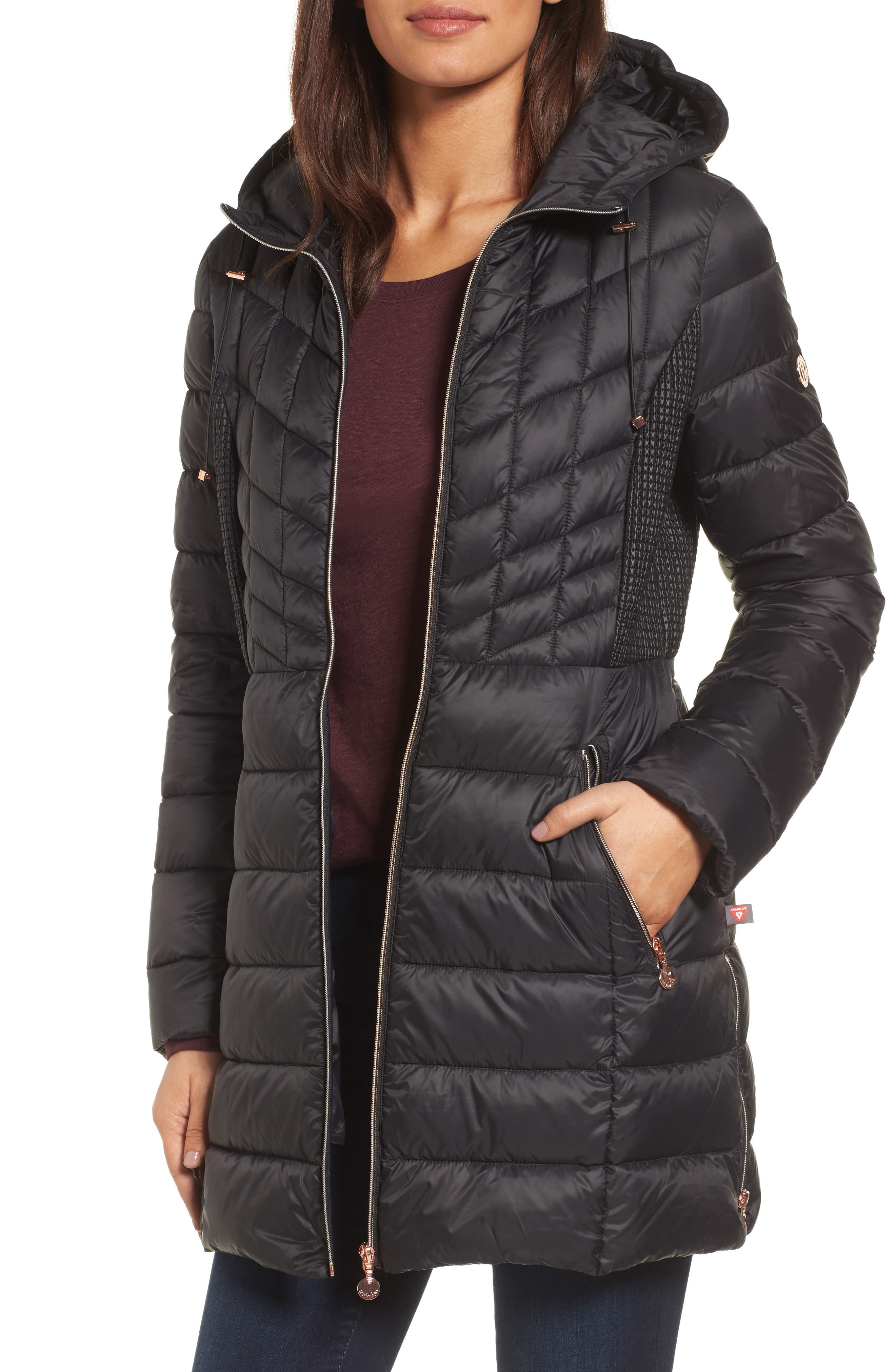 BERNARDO Hooded Packable Down & PrimaLoft<sup>®</sup> Coat, Main, color, BLACK