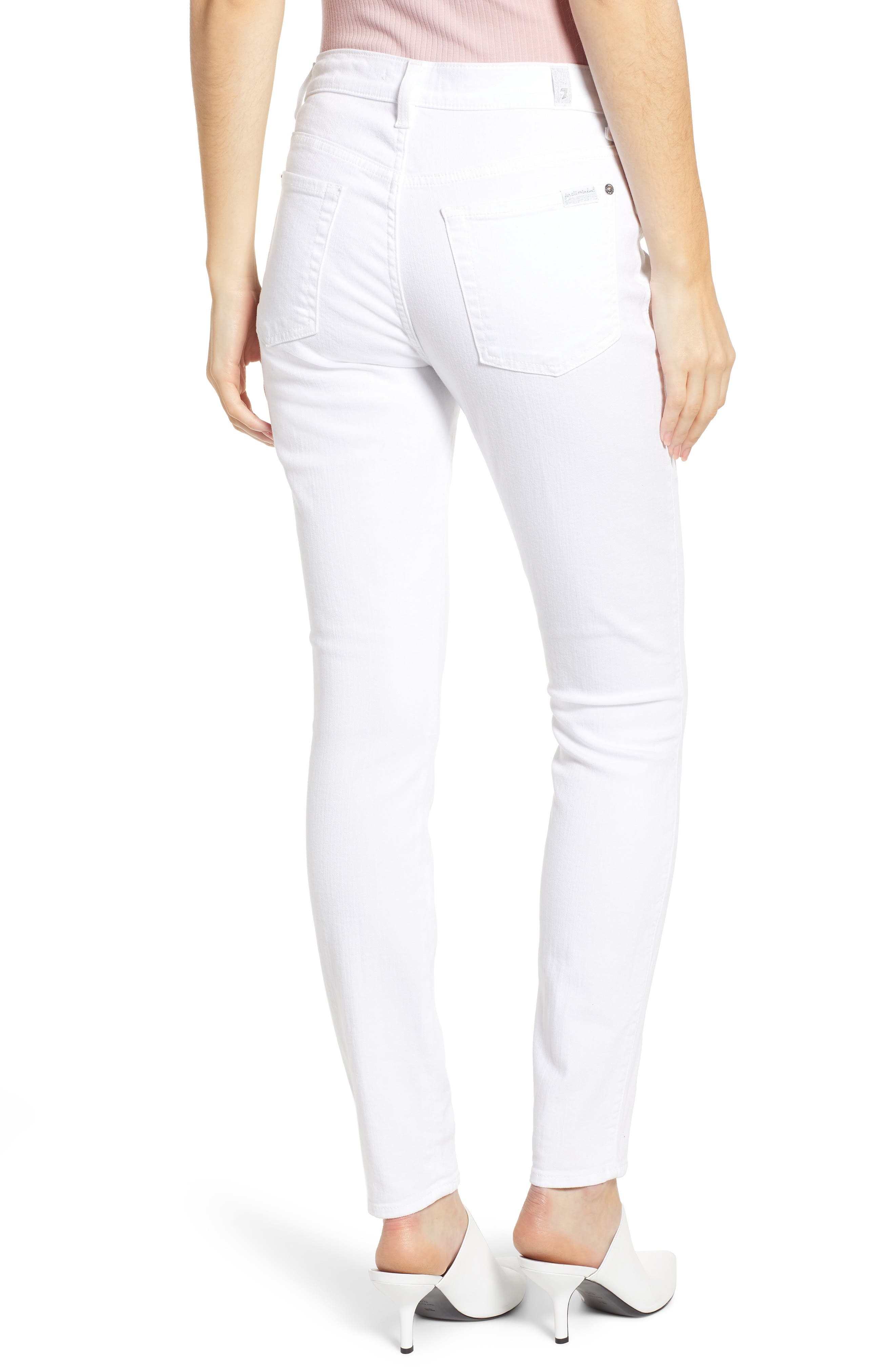 7 FOR ALL MANKIND<SUP>®</SUP>, Button Fly High Waist Ankle Skinny Jeans, Alternate thumbnail 2, color, WHITE RUNWAY DENIM