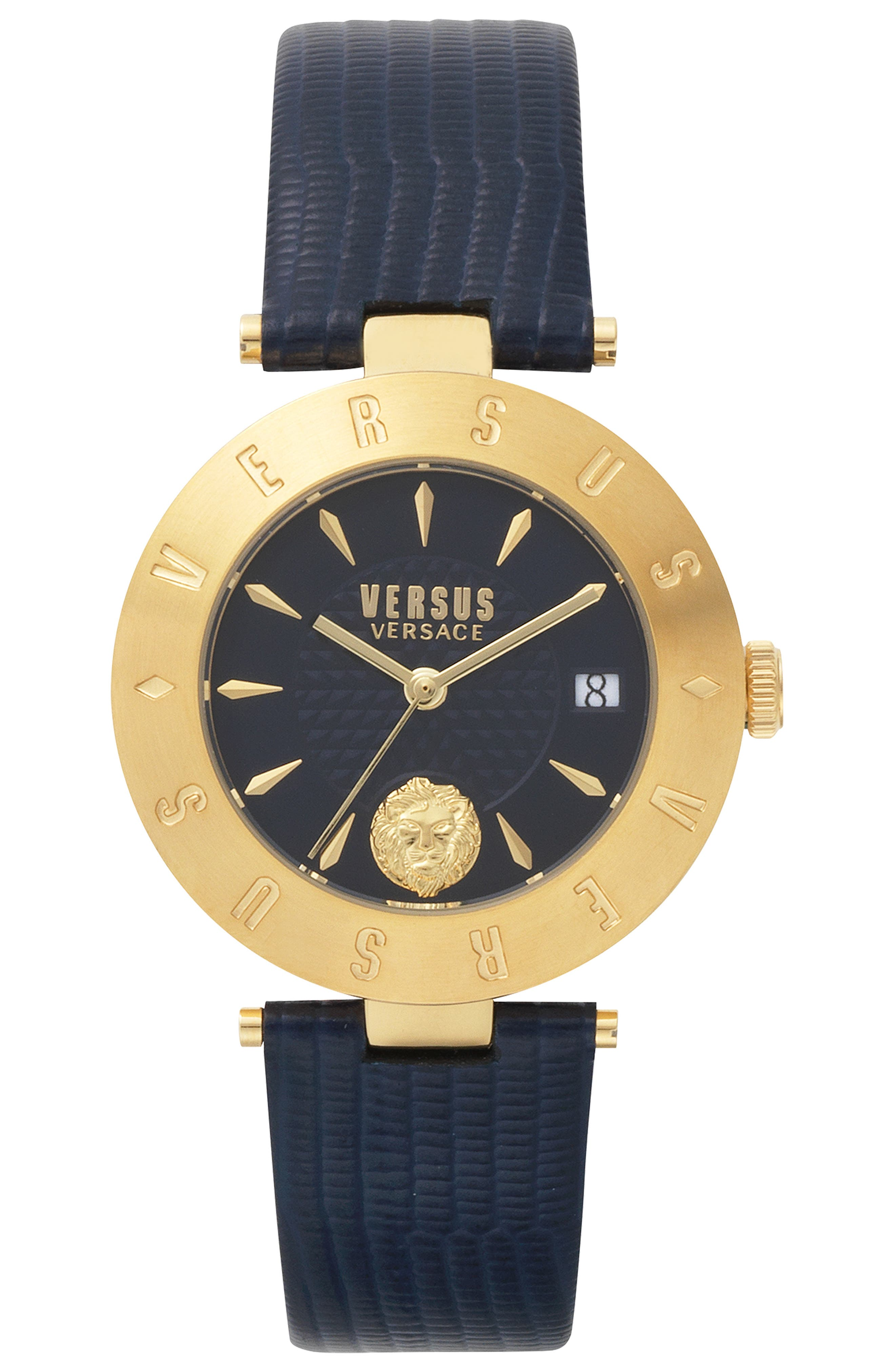 VERSUS VERSACE, Logo Leather Strap Watch, 34mm, Main thumbnail 1, color, BLUE/ GOLD