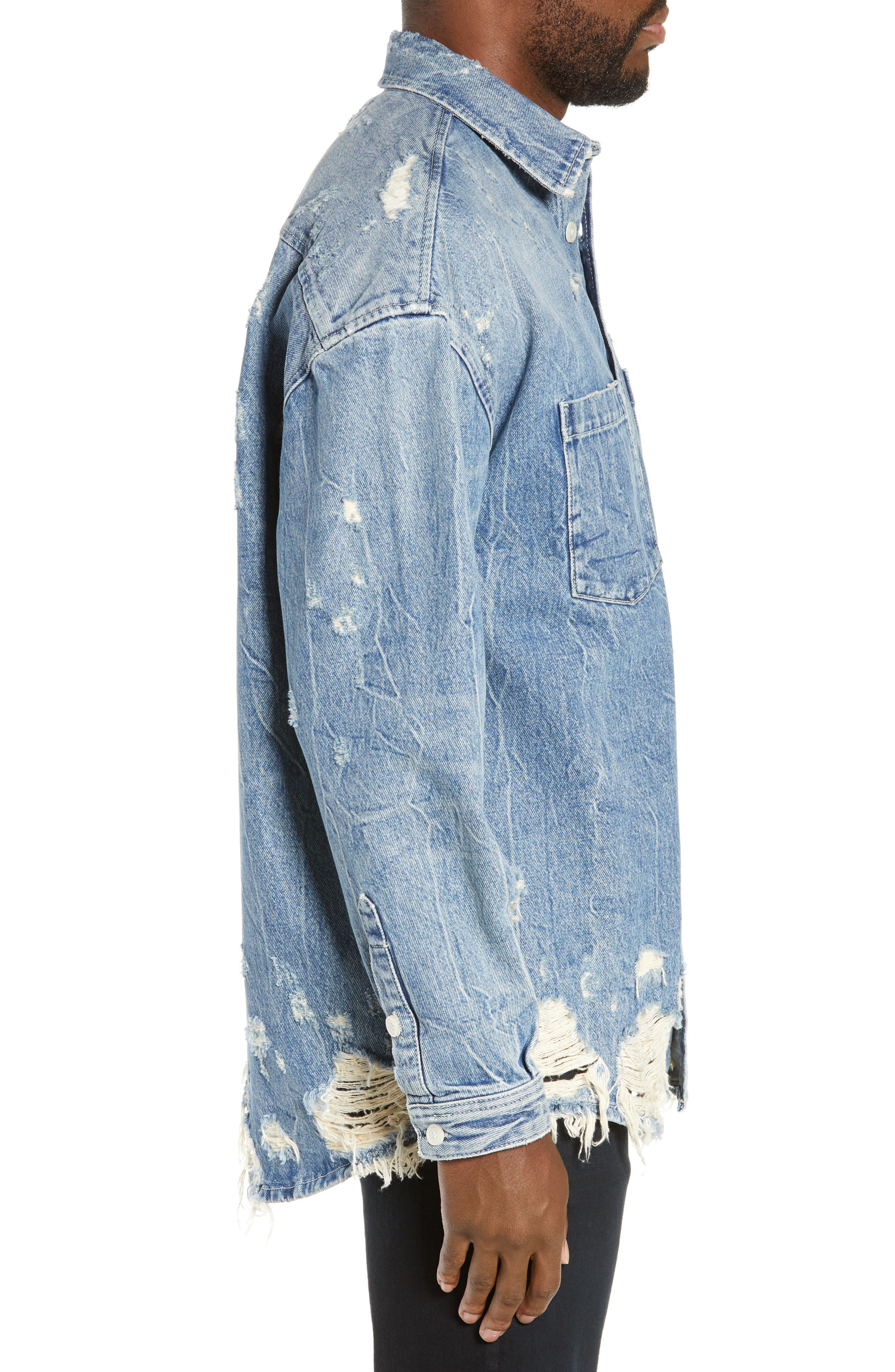 THE KOOPLES, Distressed Denim Overshirt, Alternate thumbnail 4, color, BLUE DENIM