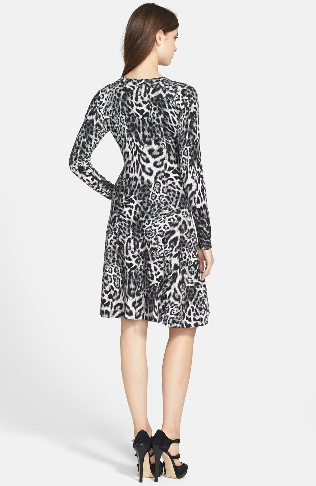 MICHAEL MICHAEL KORS, 'Fremont' Leopard Print Fit & Flare Dress, Alternate thumbnail 3, color, 001