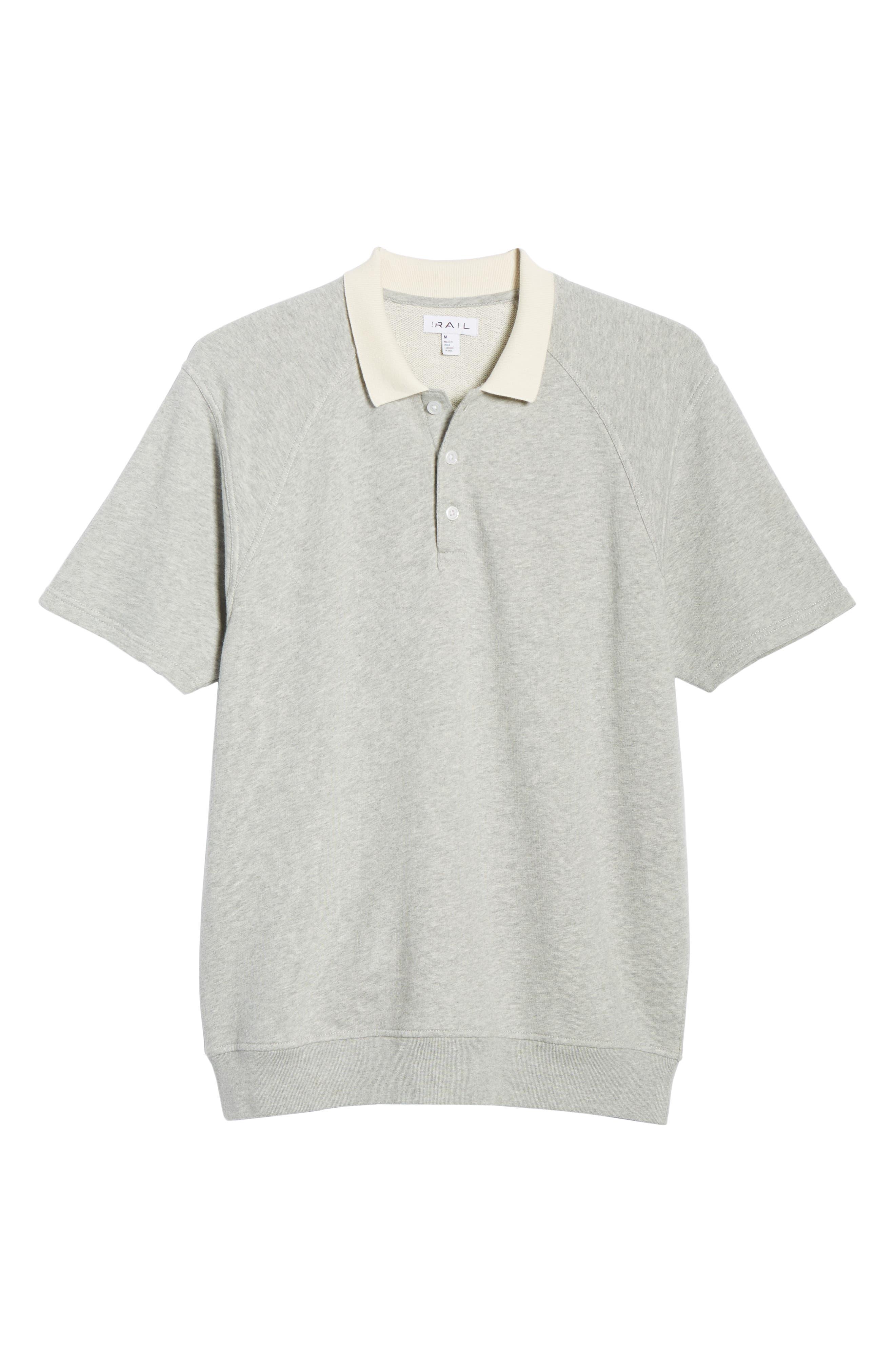 THE RAIL, Short Sleeve Rugby Shirt, Alternate thumbnail 6, color, GREY ASH HEATHER