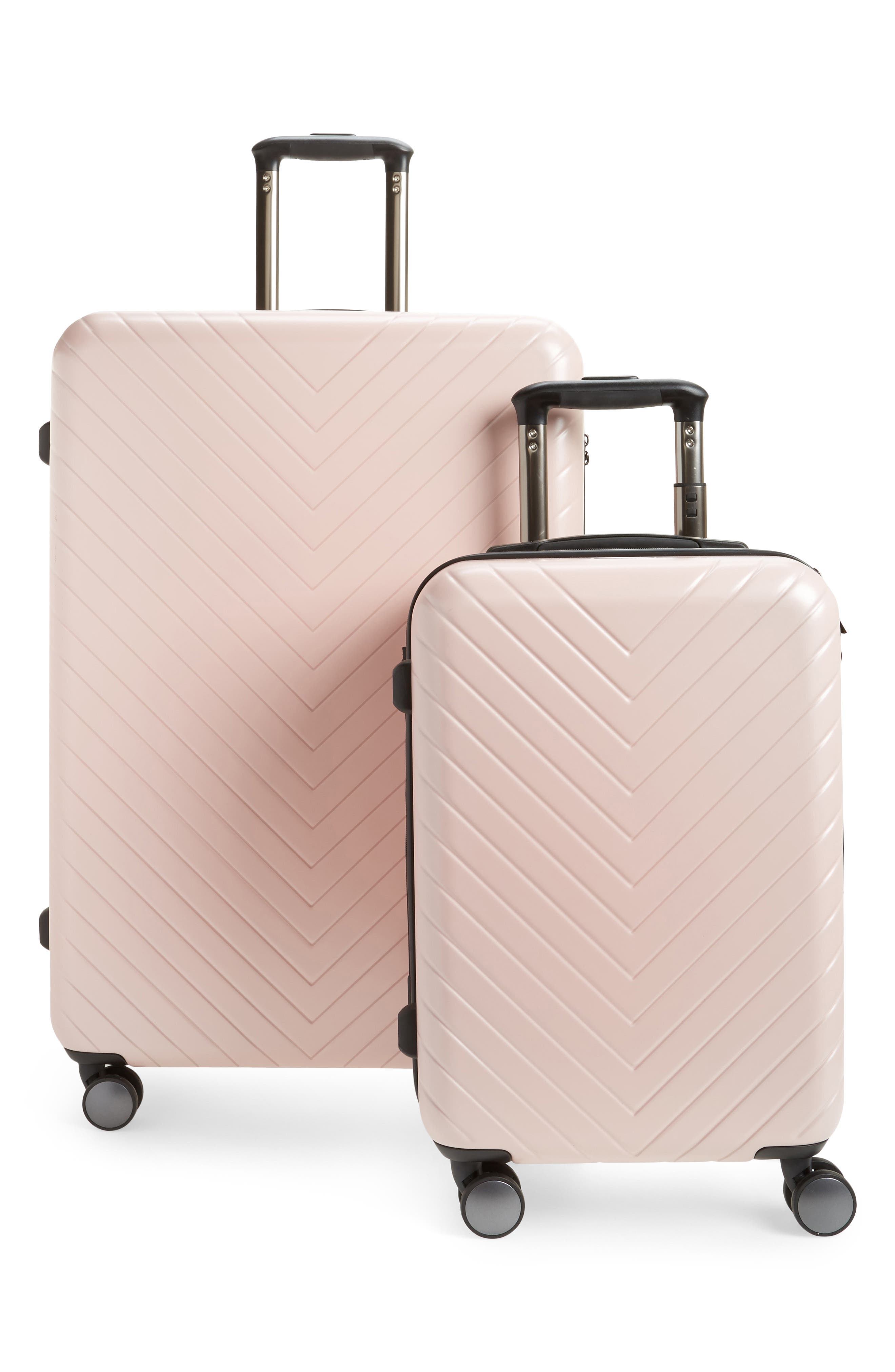 NORDSTROM, Chevron 29-Inch & 18-Inch Spinner Luggage Set, Main thumbnail 1, color, PINK HERO