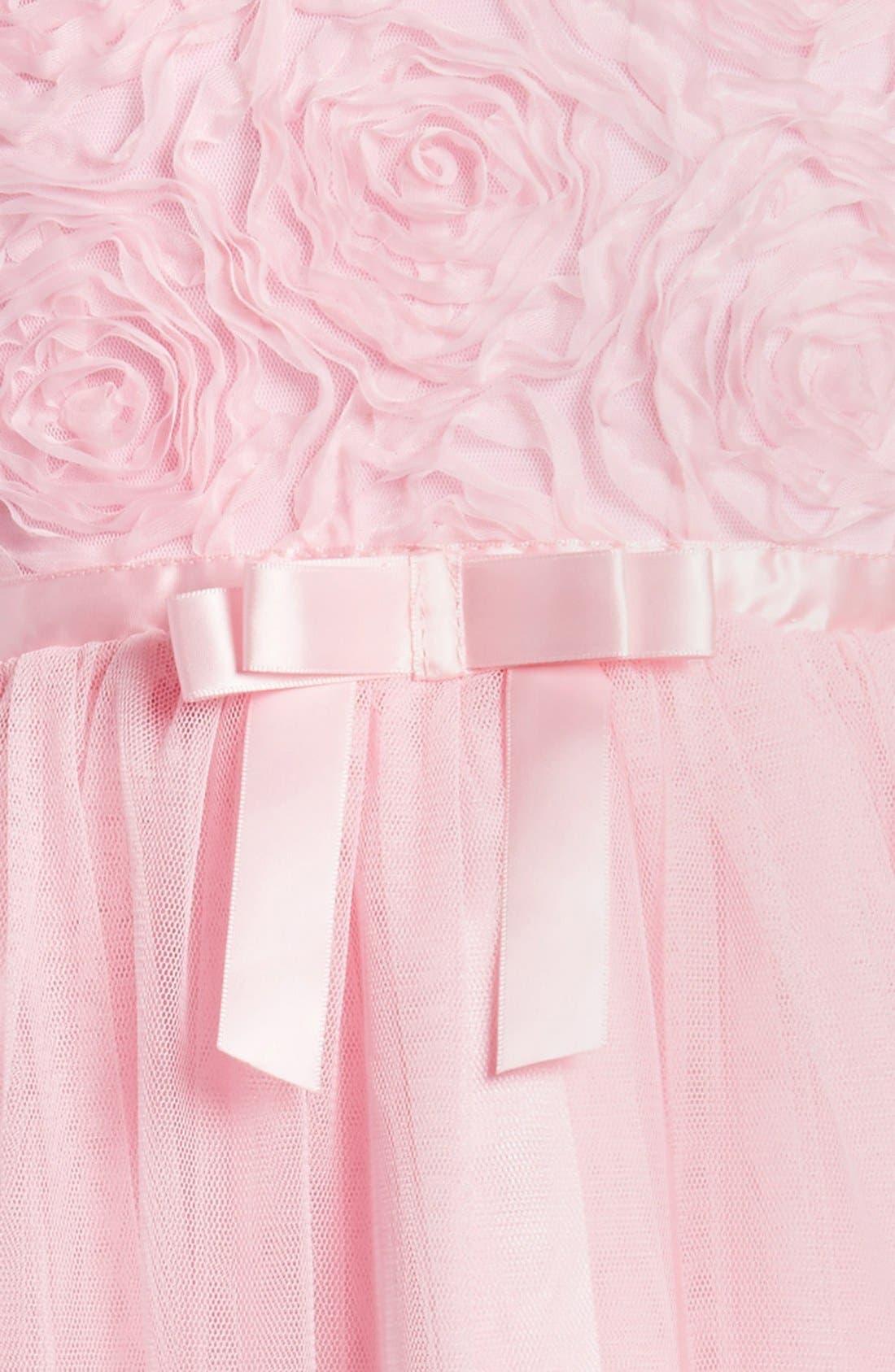 POPATU, Ribbon Rosette Tulle Dress, Alternate thumbnail 3, color, PINK