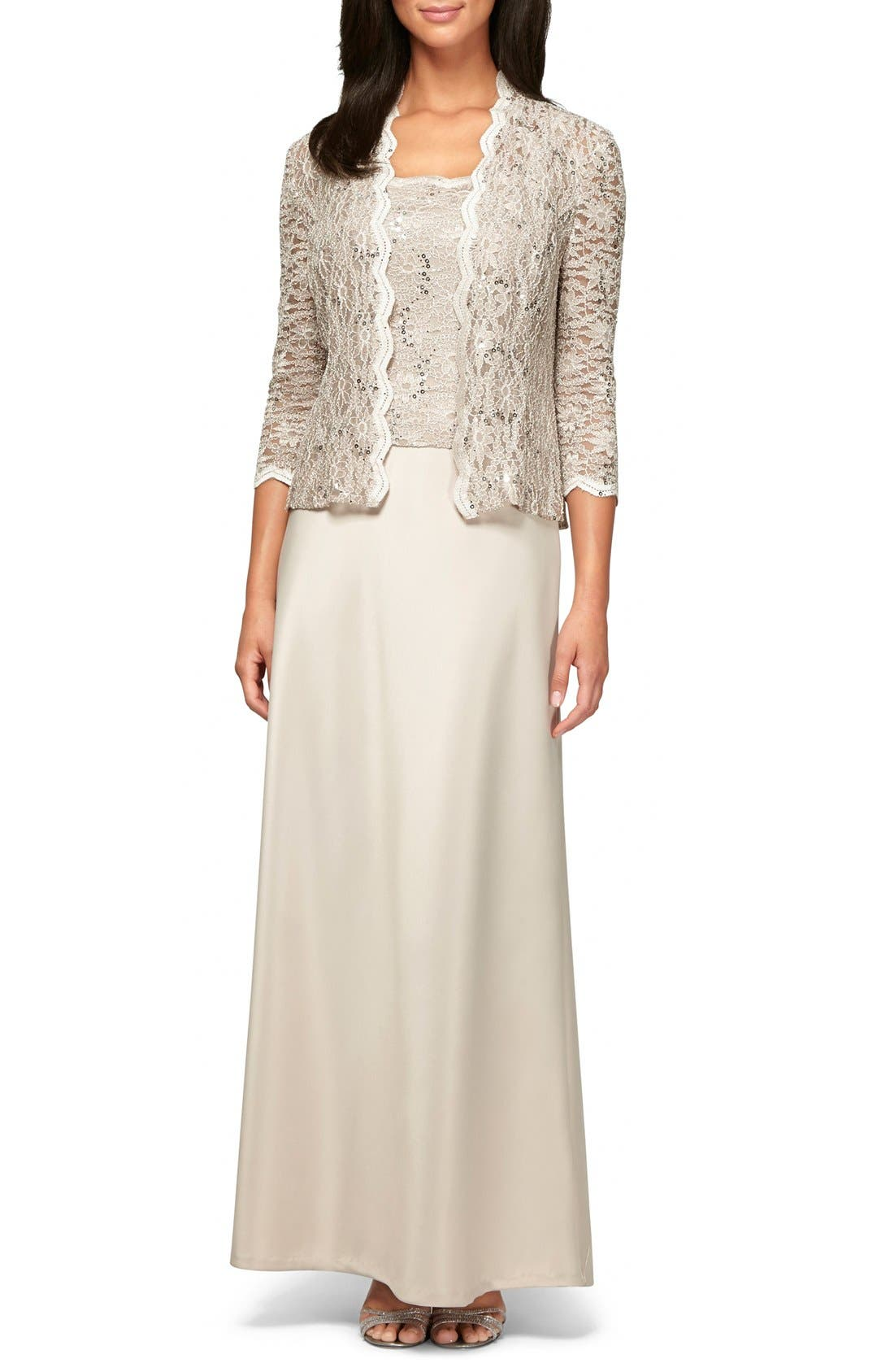ALEX EVENINGS, Sequin Lace & Satin Gown with Jacket, Main thumbnail 1, color, TAUPE