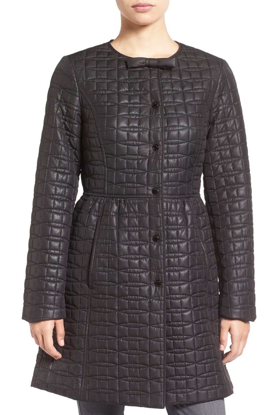 KATE SPADE NEW YORK quilted down coat, Main, color, 001