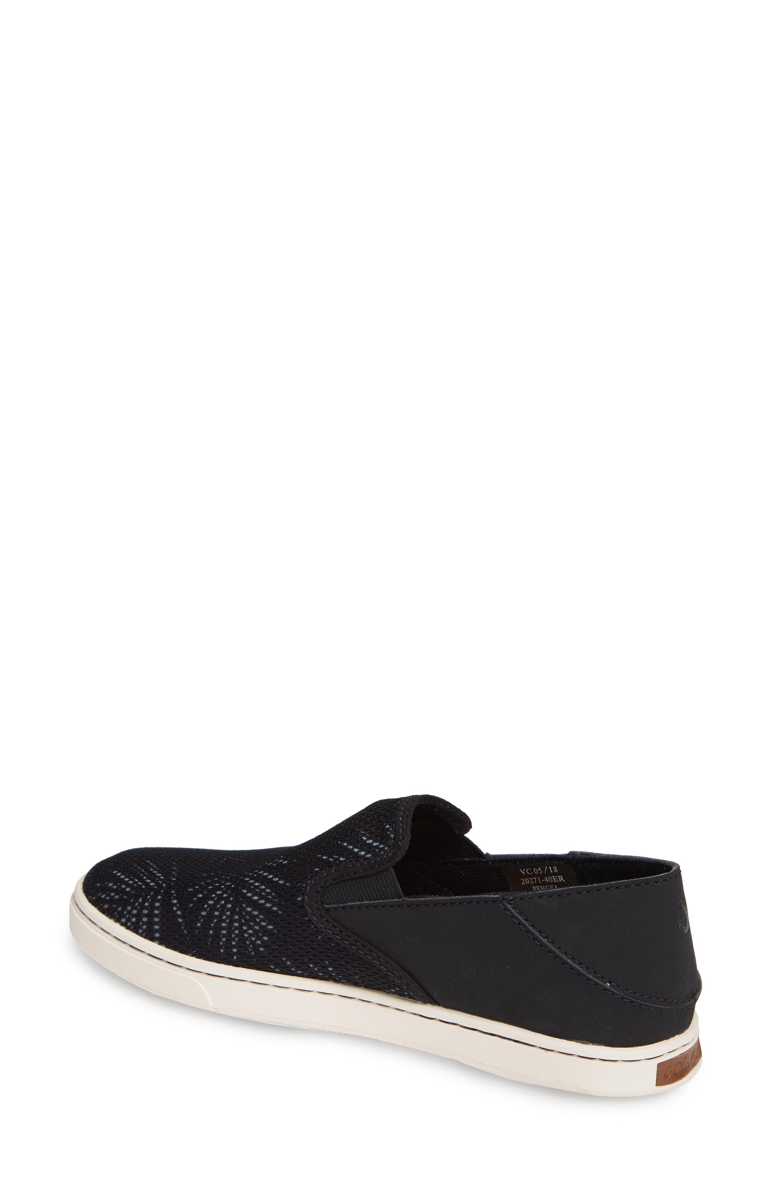 OLUKAI, 'Pehuea' Slip-On Sneaker, Alternate thumbnail 2, color, BLACK/ PALM FABRIC