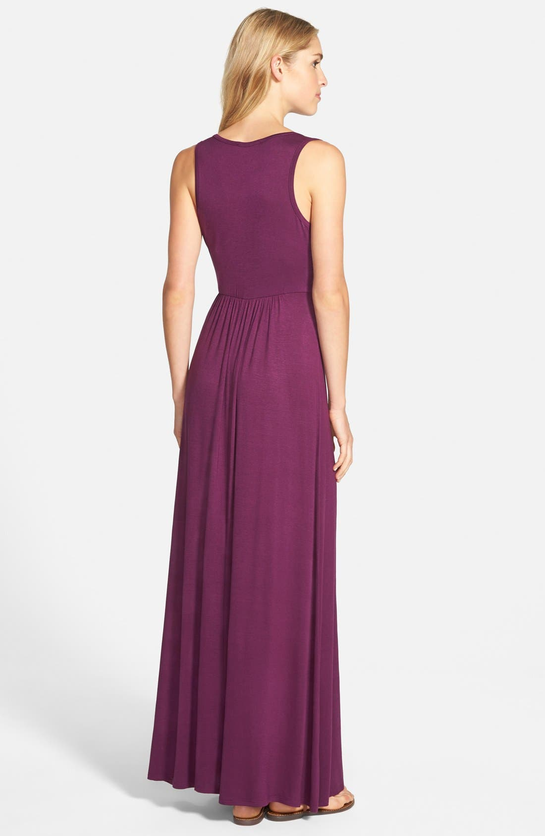 LOVEAPPELLA, V-Neck Jersey Maxi Dress, Alternate thumbnail 8, color, PURPLE DARK